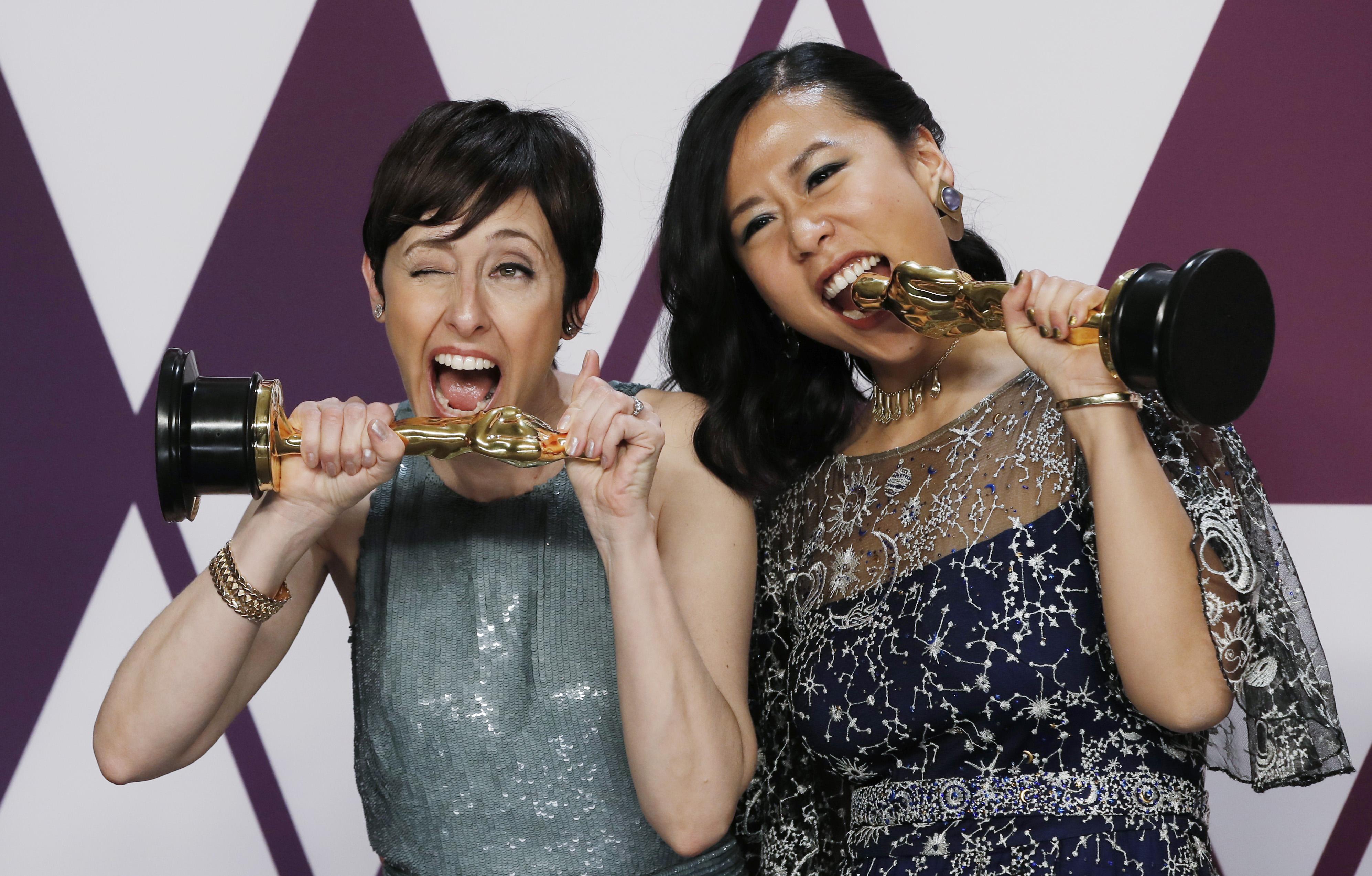 """دومي شي وبيكي نيمان، الفائزتان بجائزة أفضل فيلم للرسوم المتحركة عن فيلم """"Bao"""""""