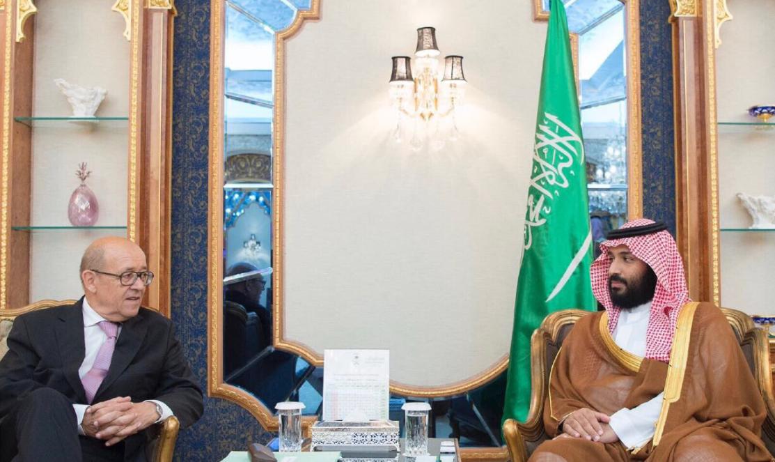 ولي العهد السعودي مع الوزير الفرنسي - الصورة من حساب واس على تويتر