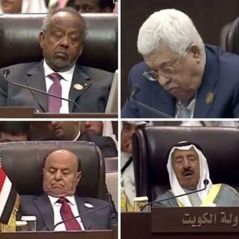 تداول ناشطون على شبكات التواصل الاجتماعي صور زعماء غلبهم النوم أثناء القمة