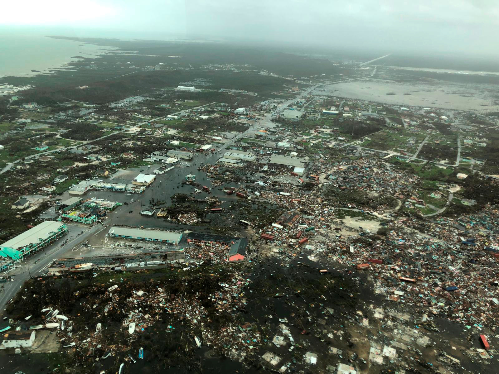 صورة جوية لجانب آخر من الدمار في جزر أباكو في البهاما بعد إعصار دوريان