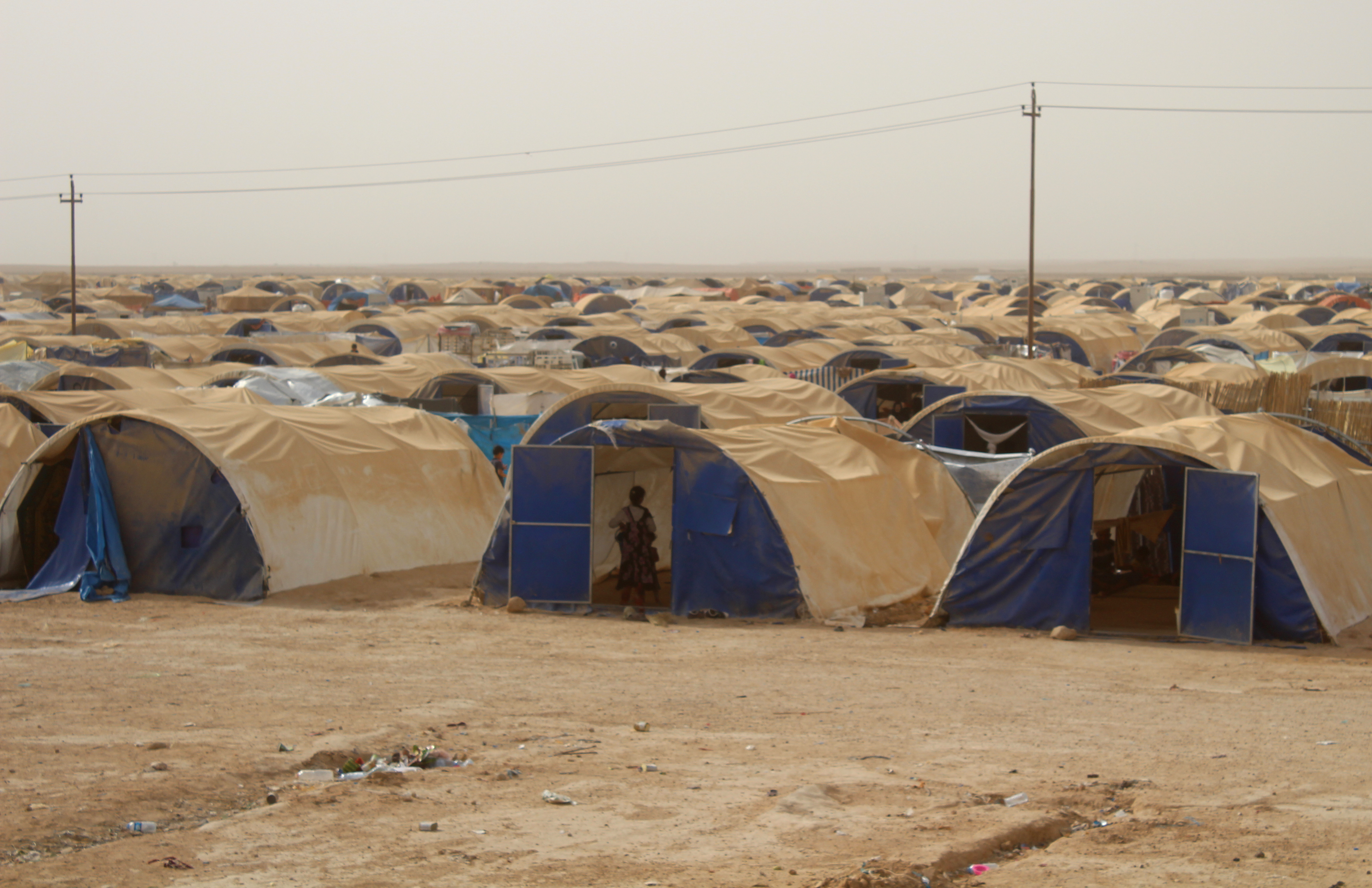 جانب من أحد مخيمات اللاجئين قرب مدينة الفلوجة