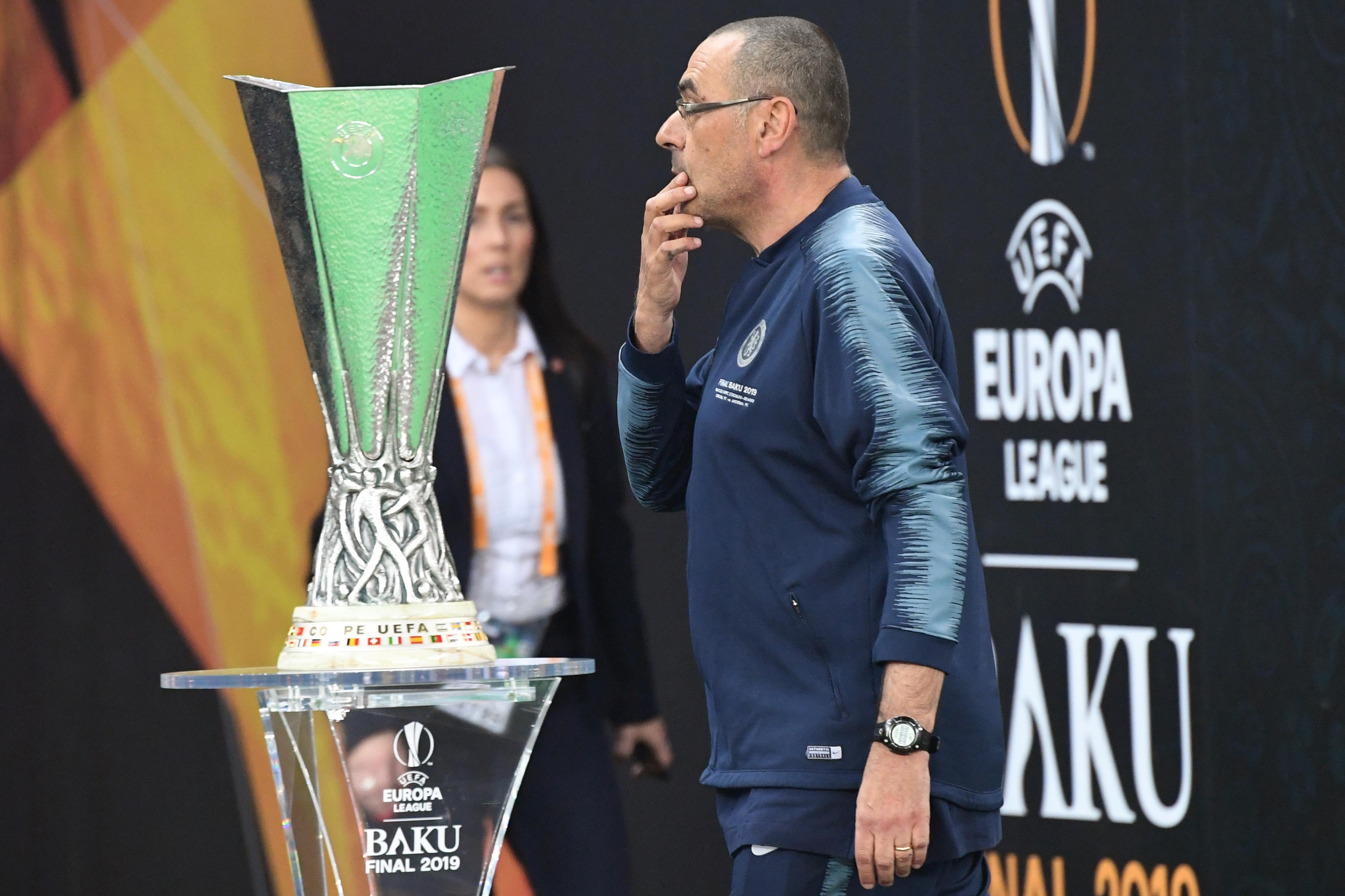 ماوريسيو ساري أمام كأس الدوري الأوروبي قبل بداية النهائي بين تشيلسي وأرسنال