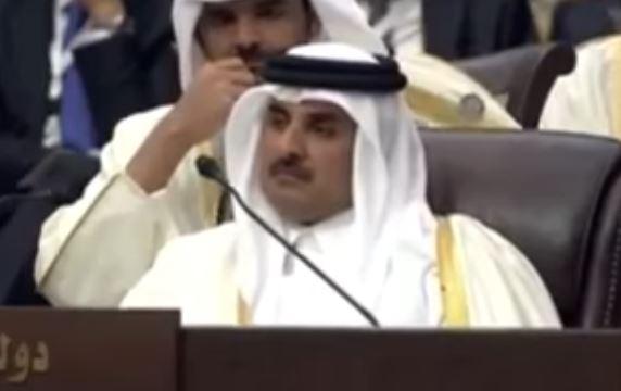 أمير قطر الشيخ تميم بن خليفة آل ثاني خلال الخطاب المصري