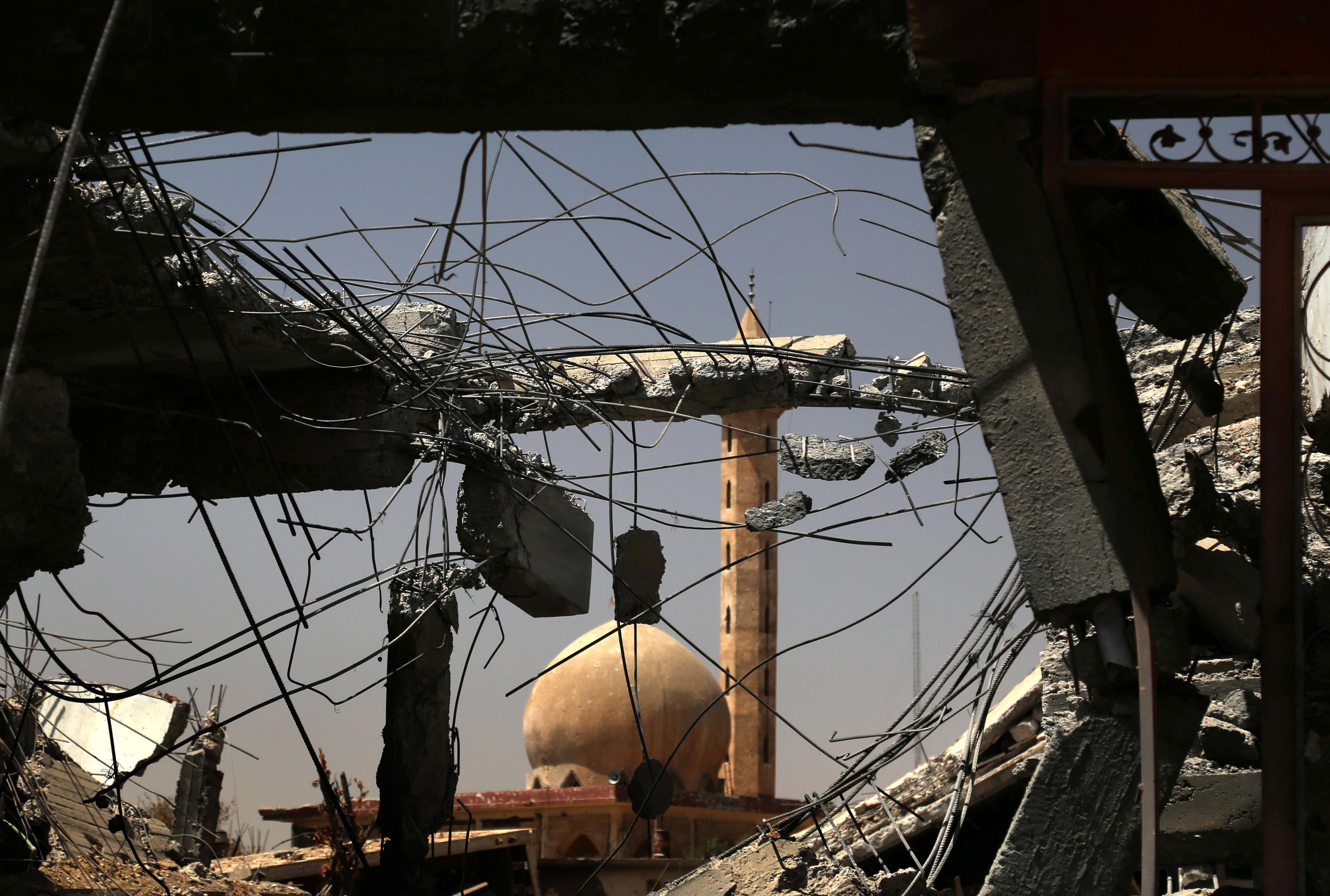 جانب من إحدى المناطق المدمرة في الموصل