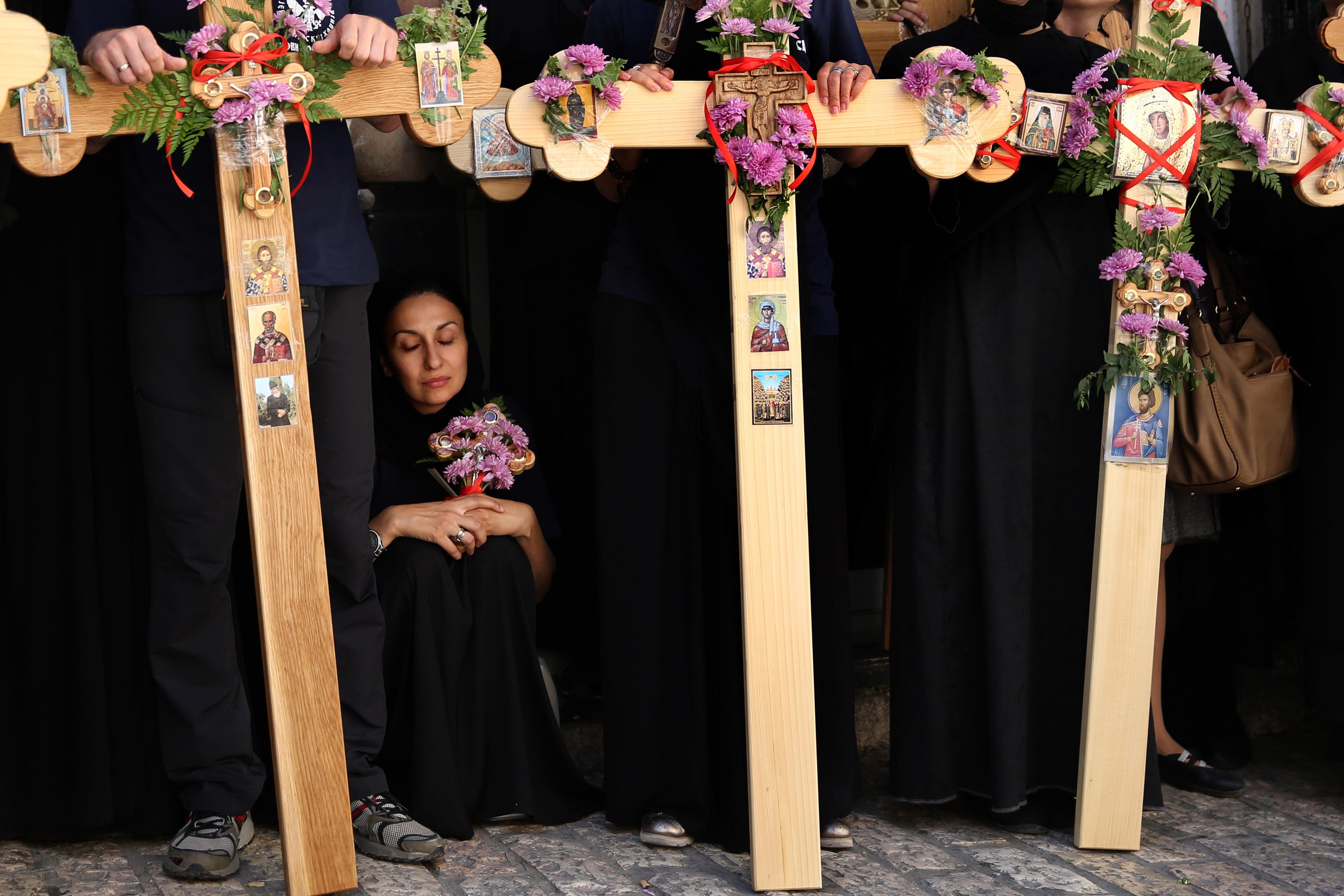 مسيحيون قدموا إلى القدس من أنحاء مختلفة من العالم بمناسبة عيد الفصح.