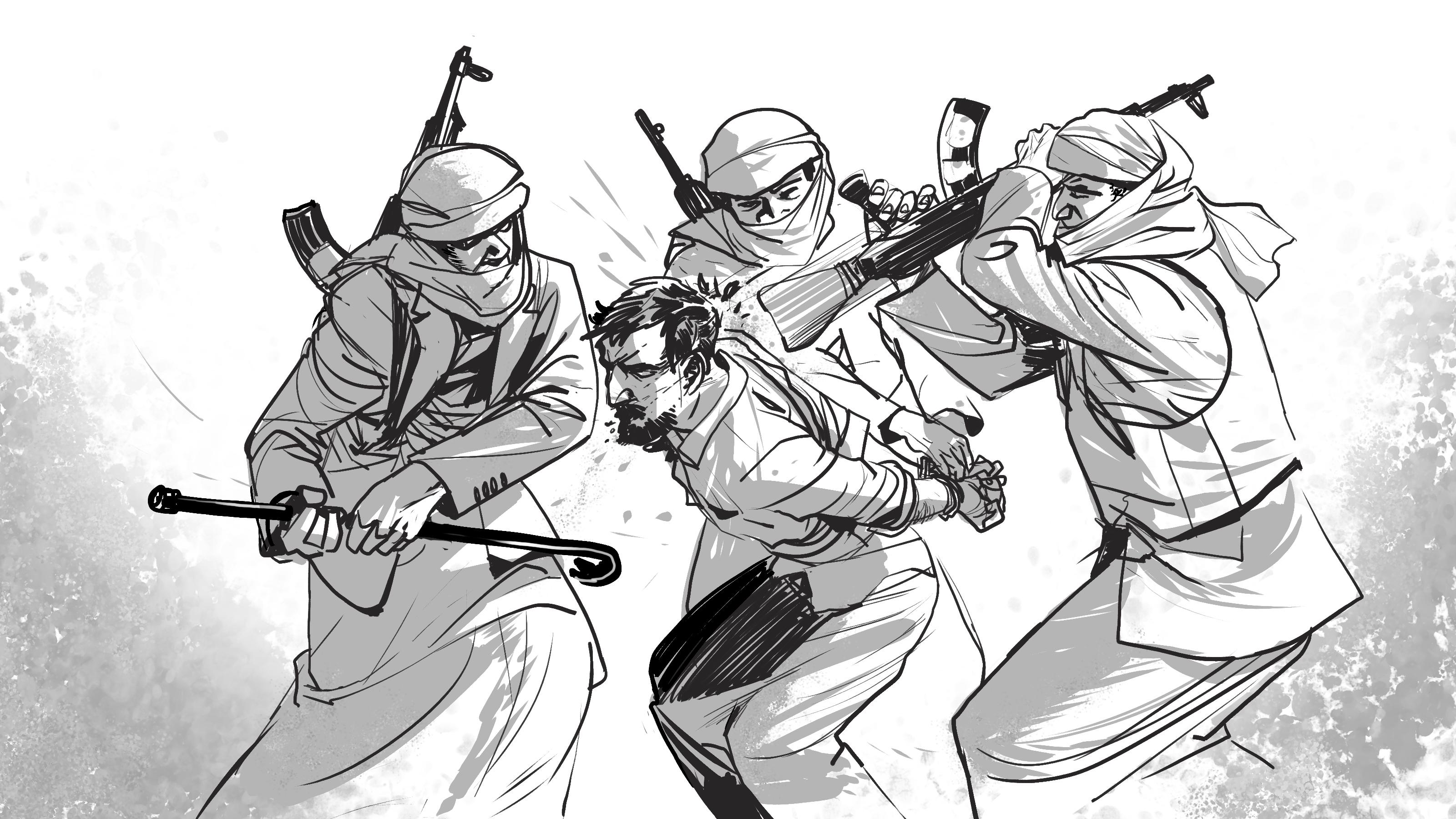 صورة تخيليه لما يحدث داخل المعتقلات في اليمن