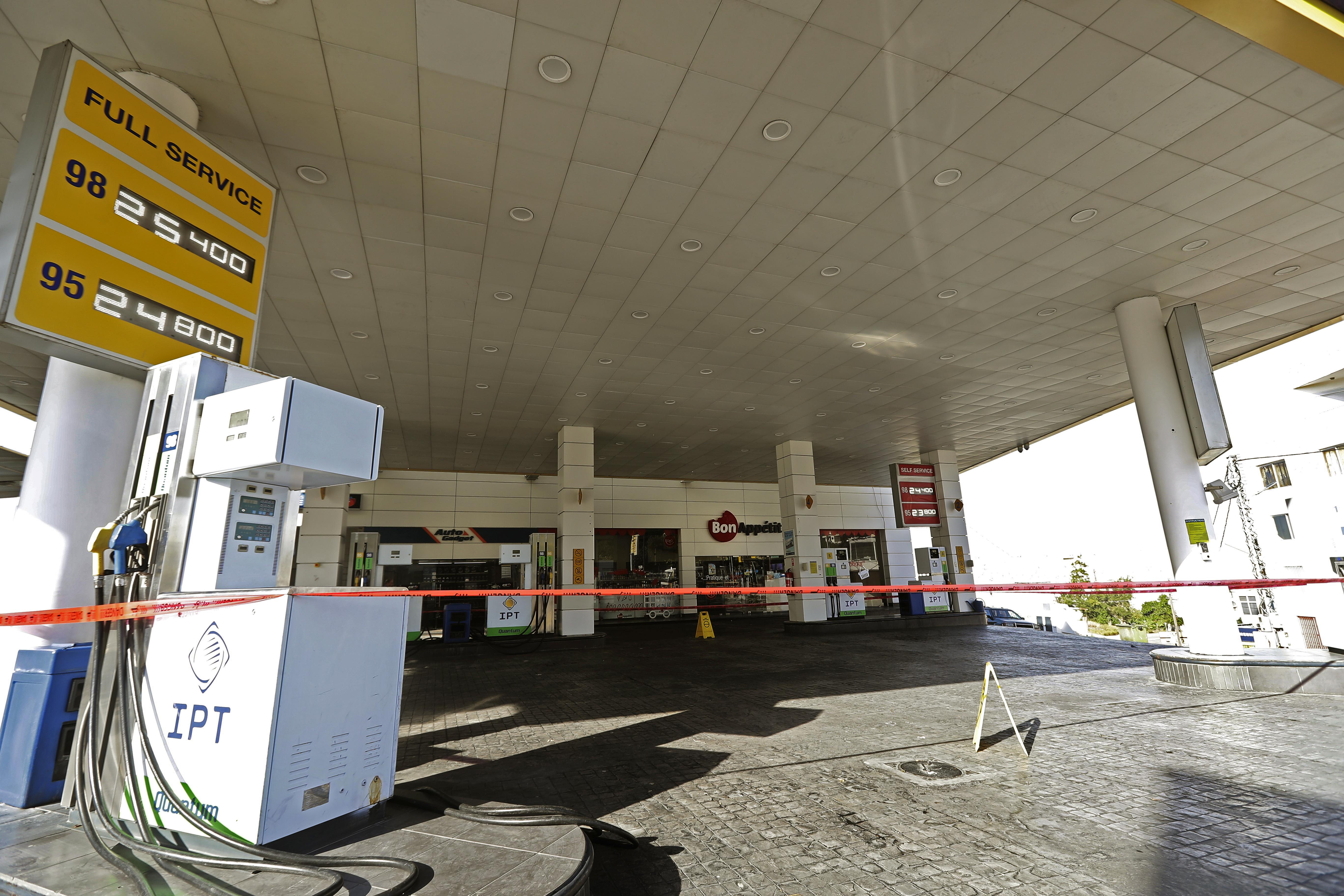 محطة وقود مغلقة في لبنان جراء شح الوقود