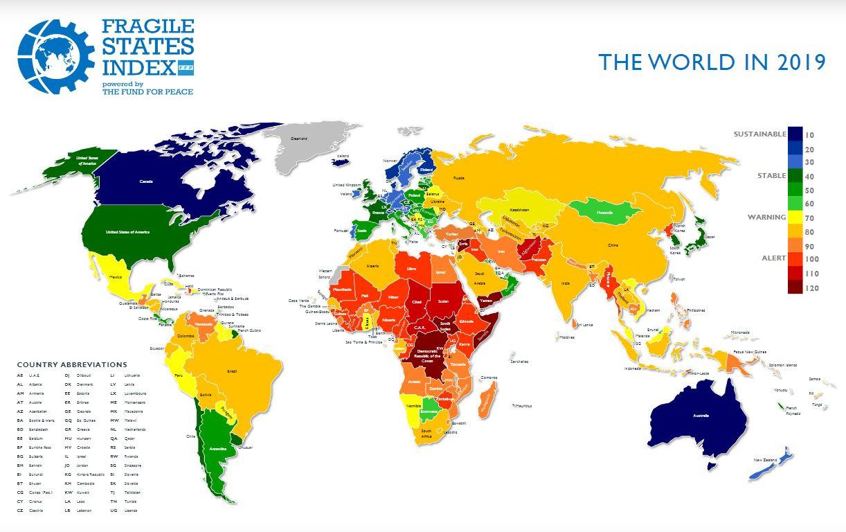 خارطة مؤشر الدول الهشة 2019
