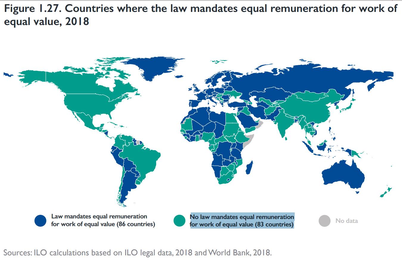خريطة تصنف الدول التي بها قانون ينص على المساواة في الأجور لنفس الوظيفة (باللون الأزرق)- والتي ليس بها قانون (باللون الأخضر)