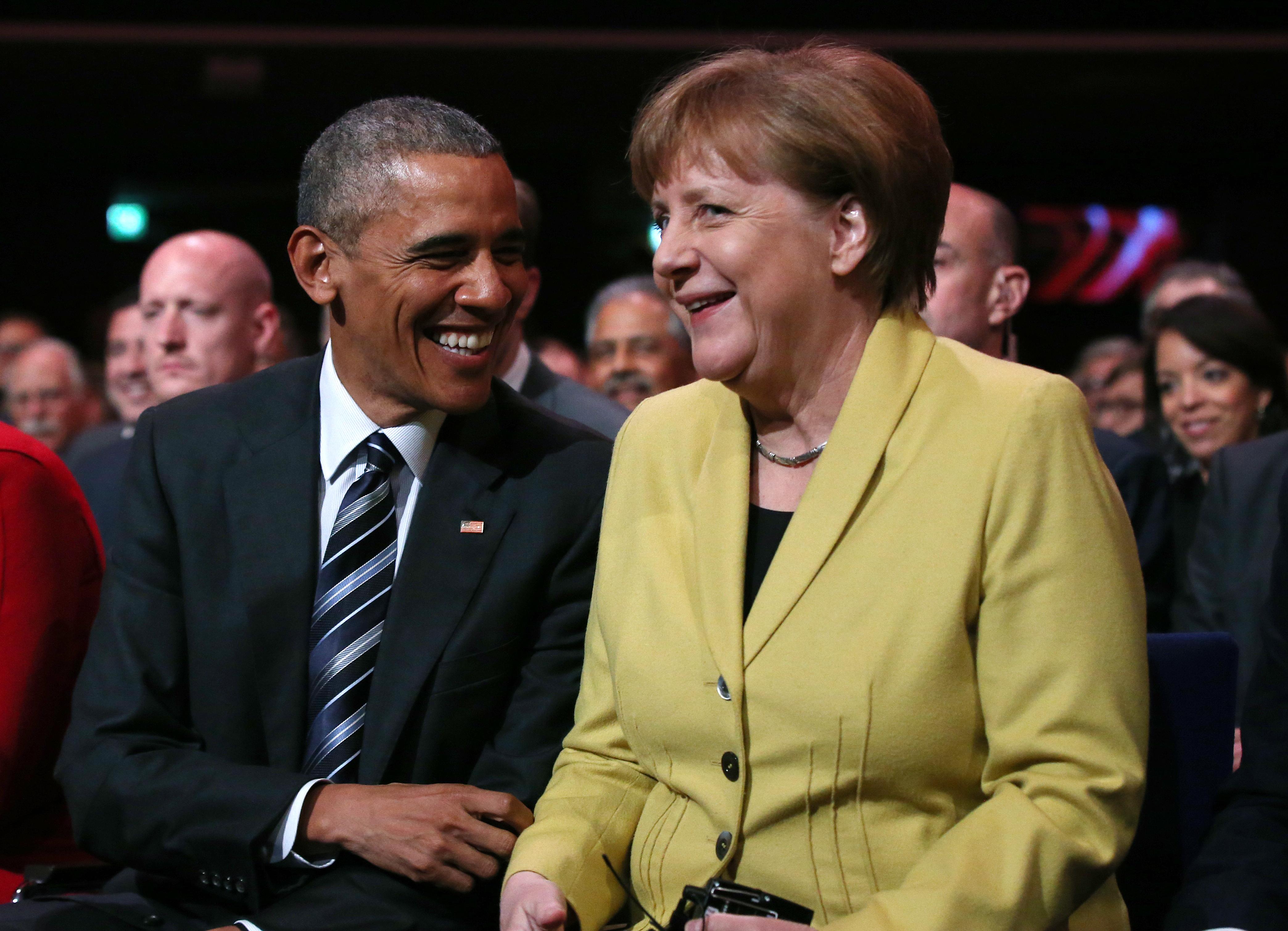 أوباما وميركل خلال افتتاح المعرض الصناعي السنوي Hannover Messe
