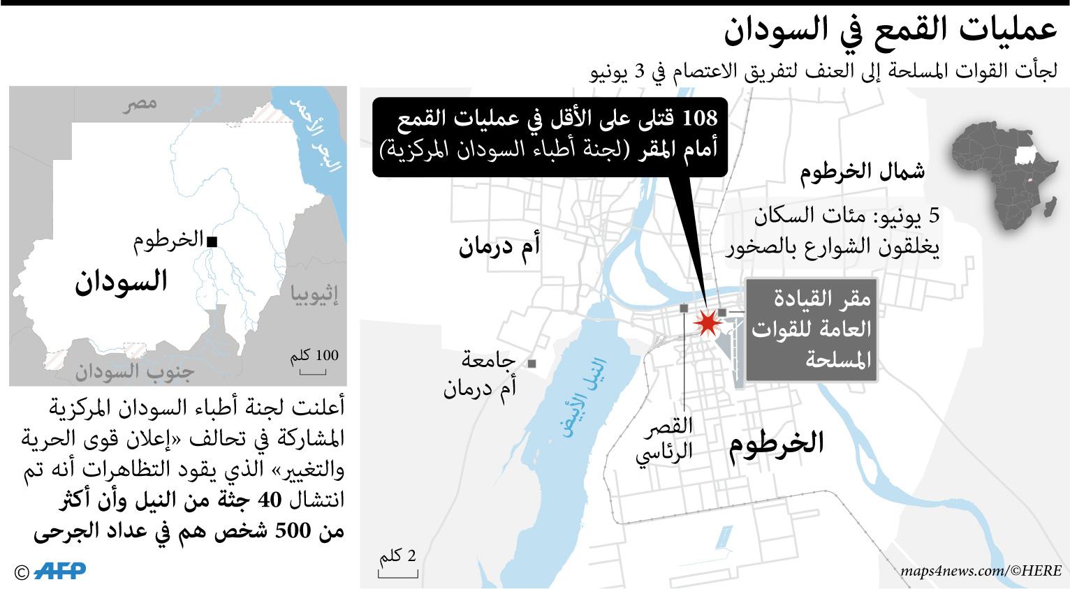 فض مسلحون في ملابس عسكرية اعتصاما لآلاف المحتجين أمام مقر قيادة الجيش في الخرطوم في 3 يونيو