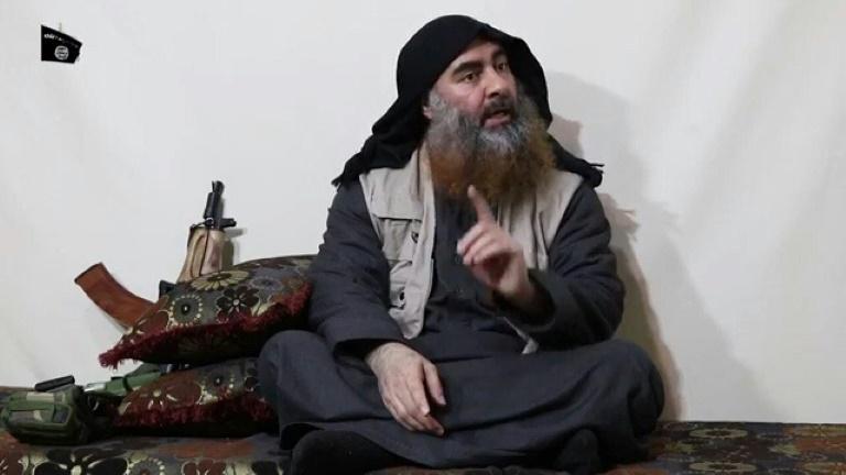 أبو بكر البغدادي في آخر ظهور له ضمن تسجيل مرئي نشر في 29 أبريل 2019