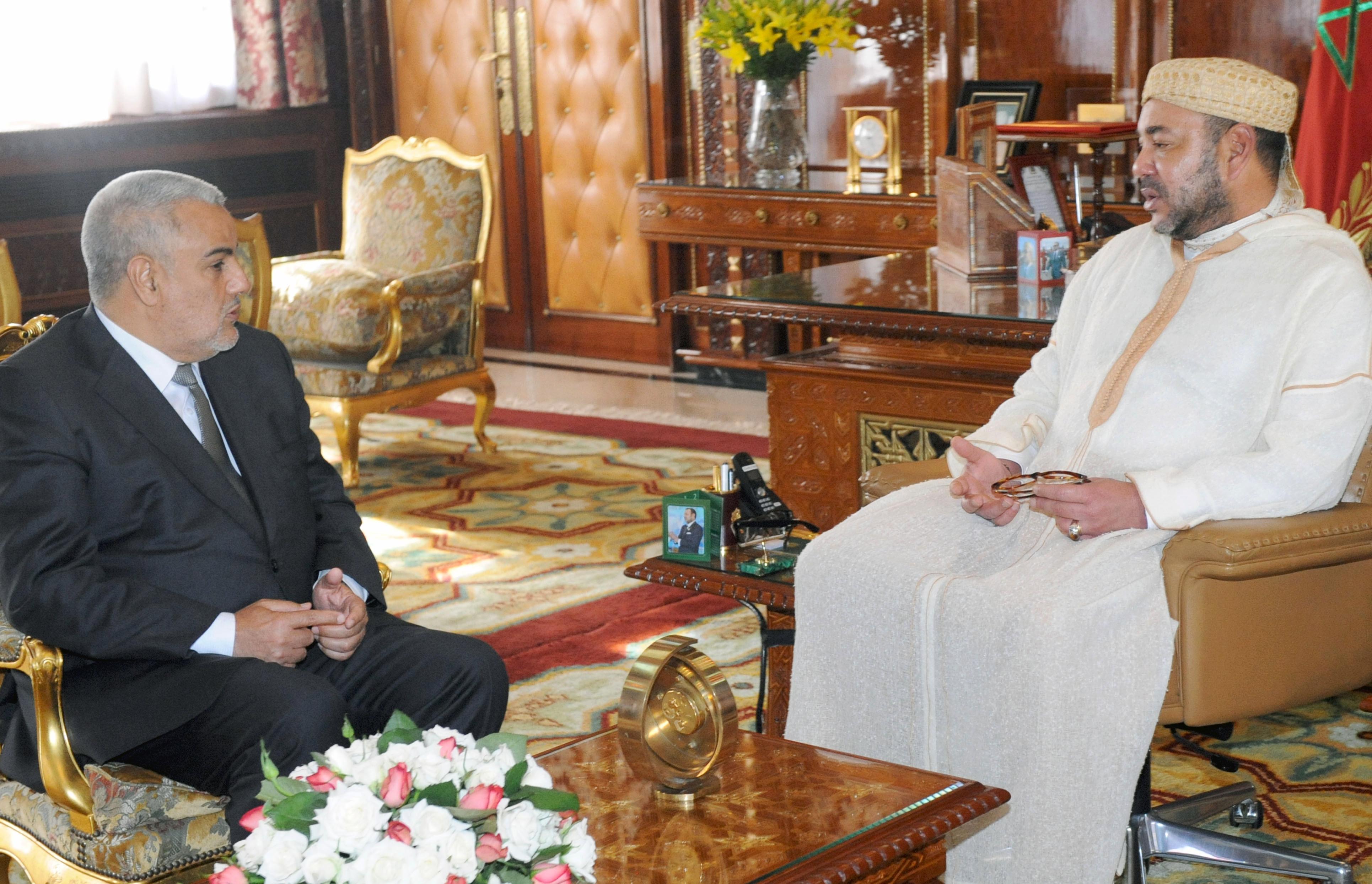 بن كيران في لقاء مع ملك المغرب محمد السادس صيف 2012