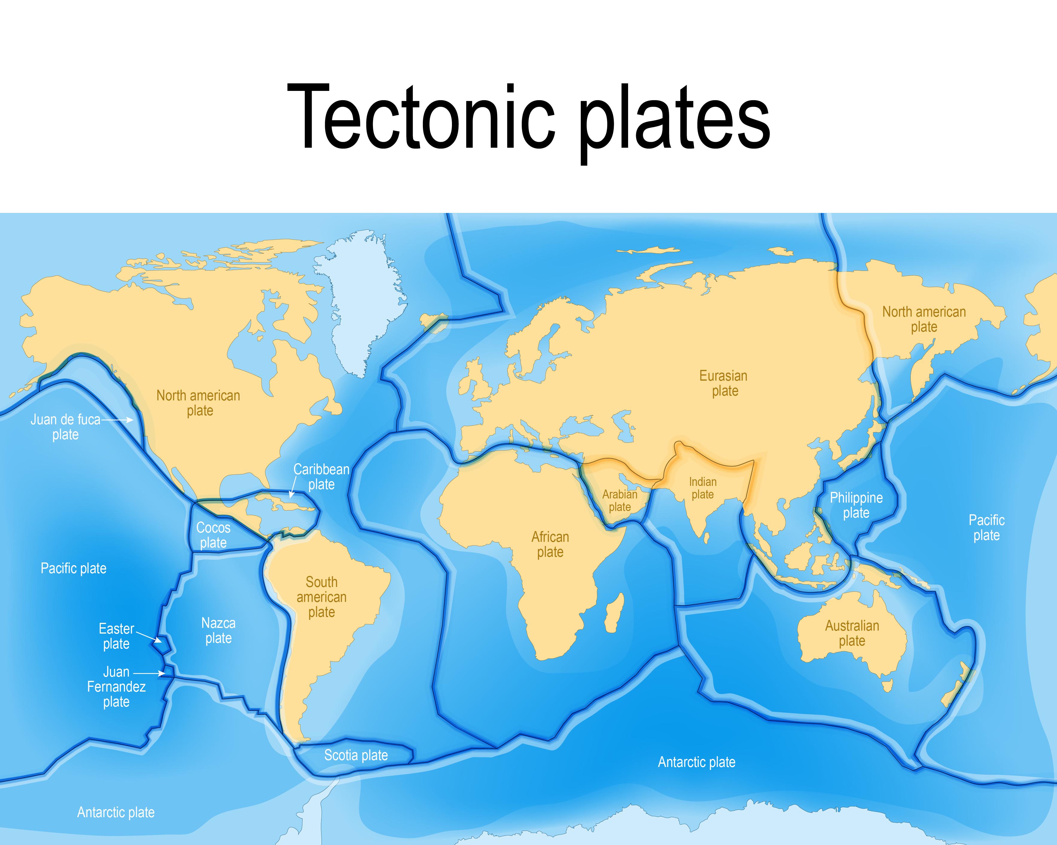 تقسيم الصفائح التكتونية المكونة للقشرة الأرضية
