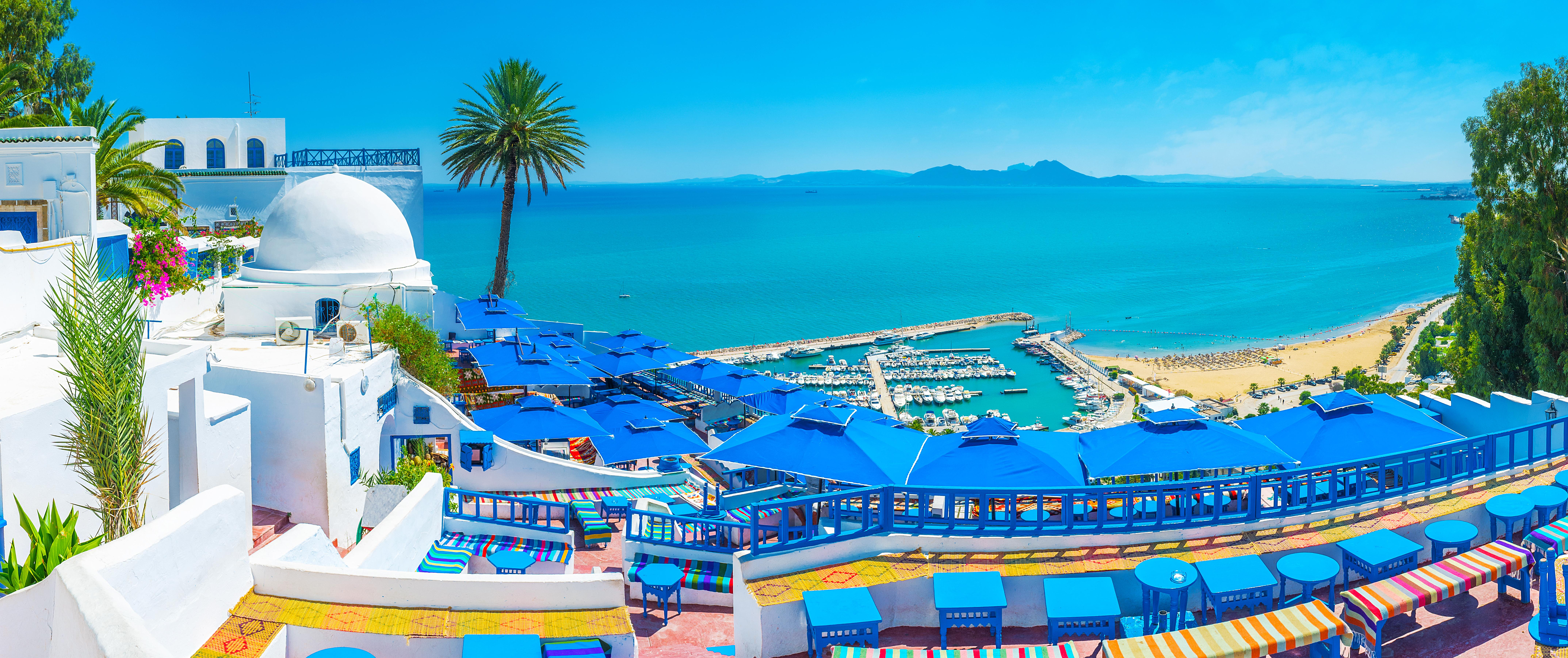 منظر عام لمدينة سيدي بوسعيد في تونس