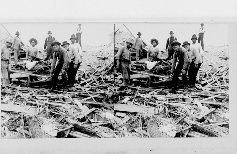 صورة أرشيفية من مكتبة الكونغرس لأثار إعصار ضرب تكساس في 1900