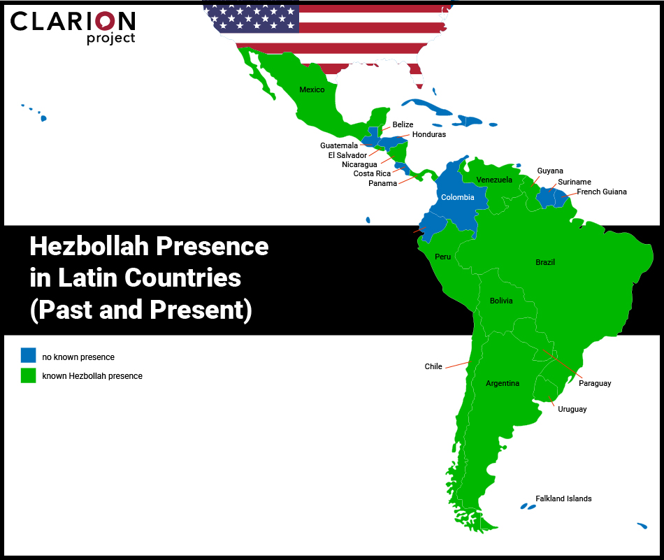 """خريطة تظهر دول أميركا اللاتينية التي ينشط فيها """"حزب الله"""" (مشروع كلارينون)"""