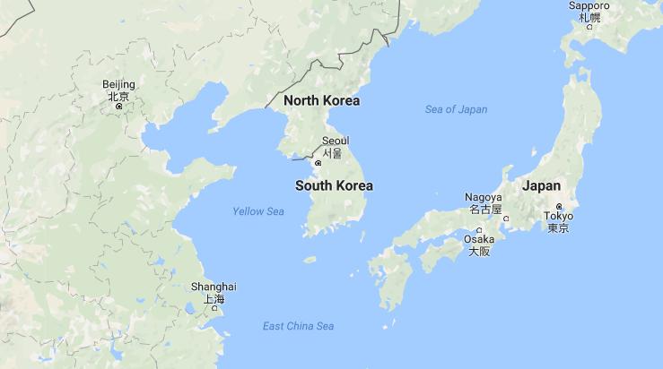 خريطة من غوغل تظهر الحدود بين الصين وكوريا الشمالية