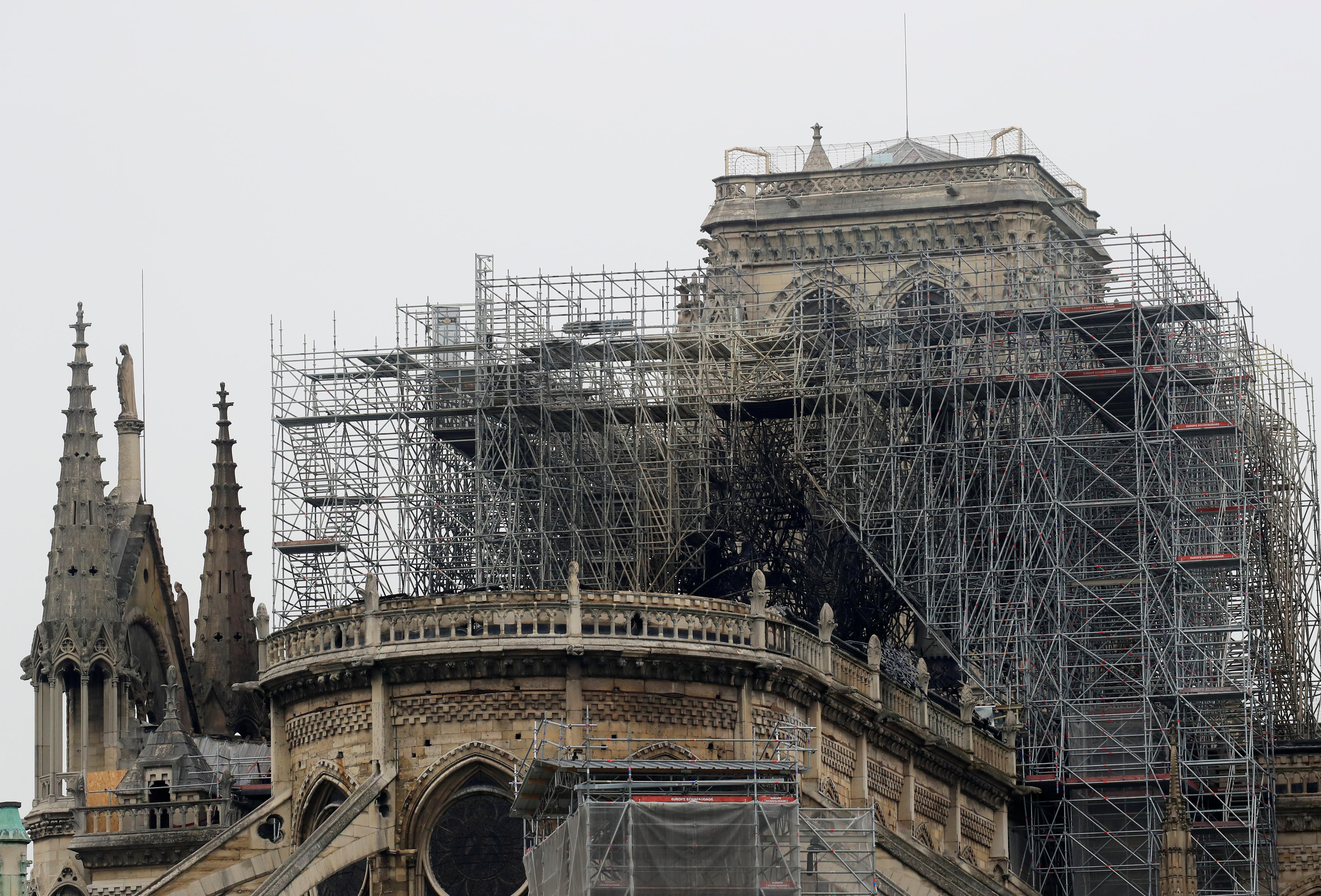 آثار الدمار التي لحقت بكاتدرائية نوتردام - 16 نيسان/أبريل 2019
