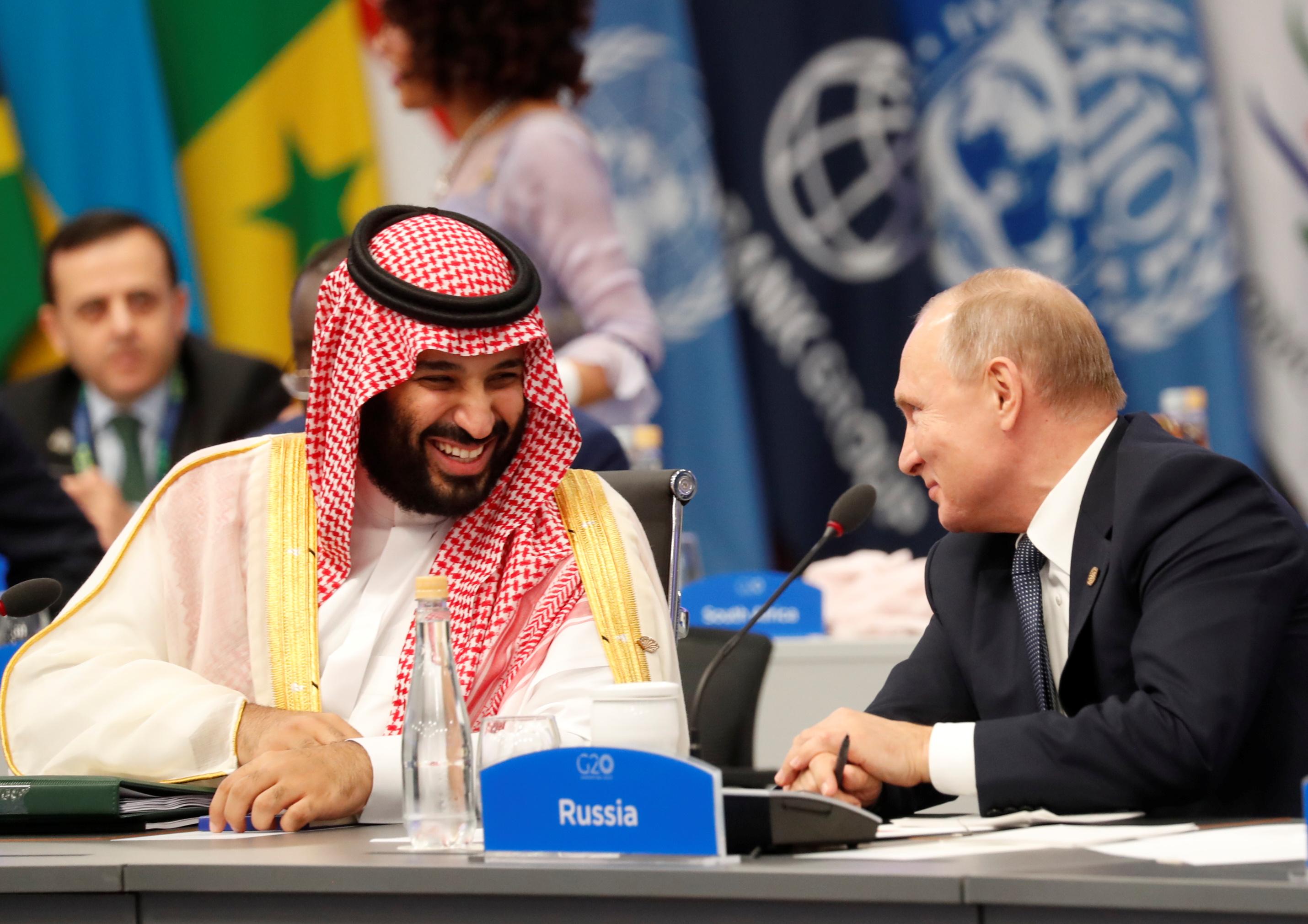 ولي العهد محمد بن سلمان والرئيس الروسي فلاديمير بوتين