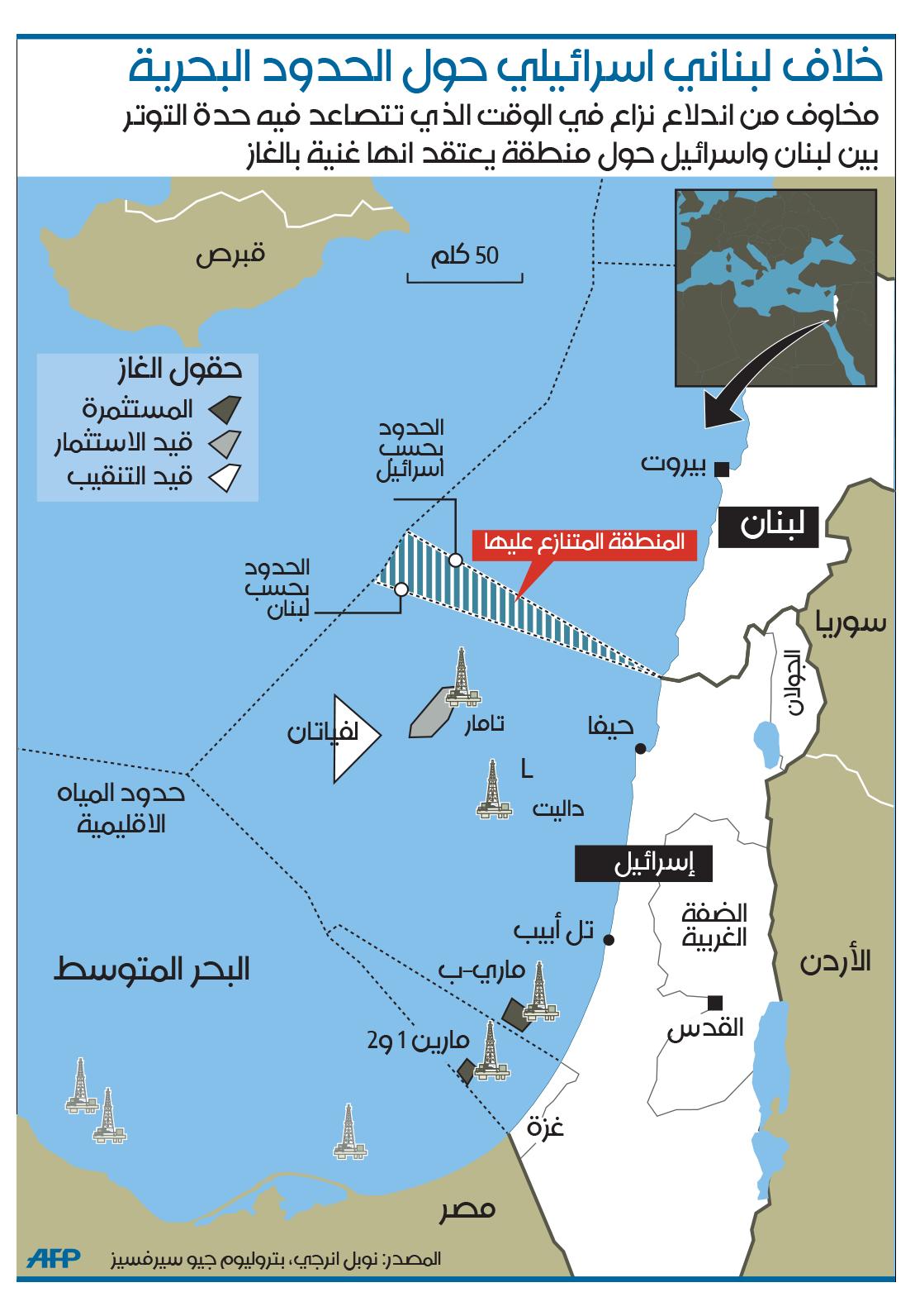 خلاف لبناني اسرائيلي حول الحدود البحرية