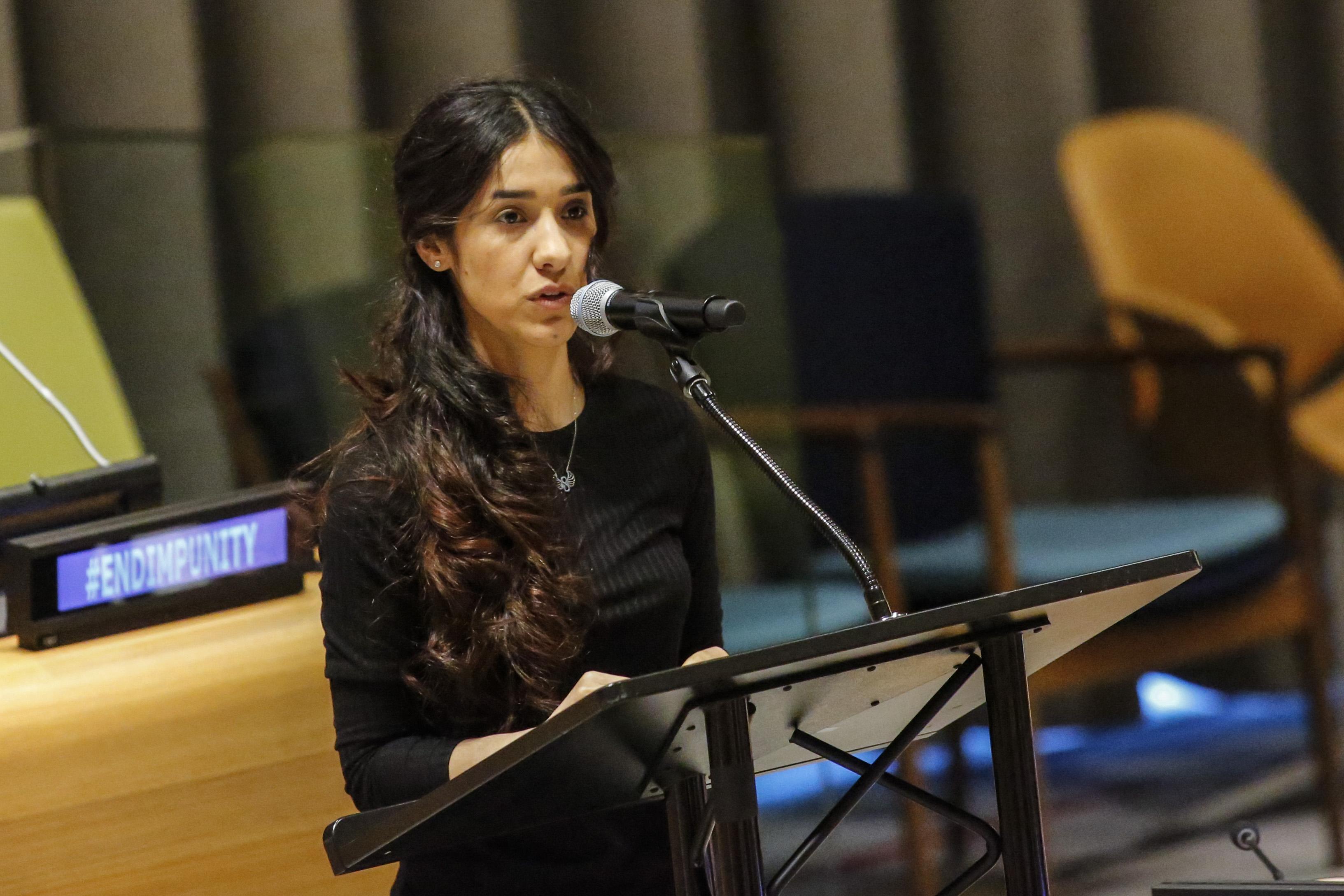 ناديا مراد متحدثة في المقر الرئيسي للأمم المتحدة في نيويورك