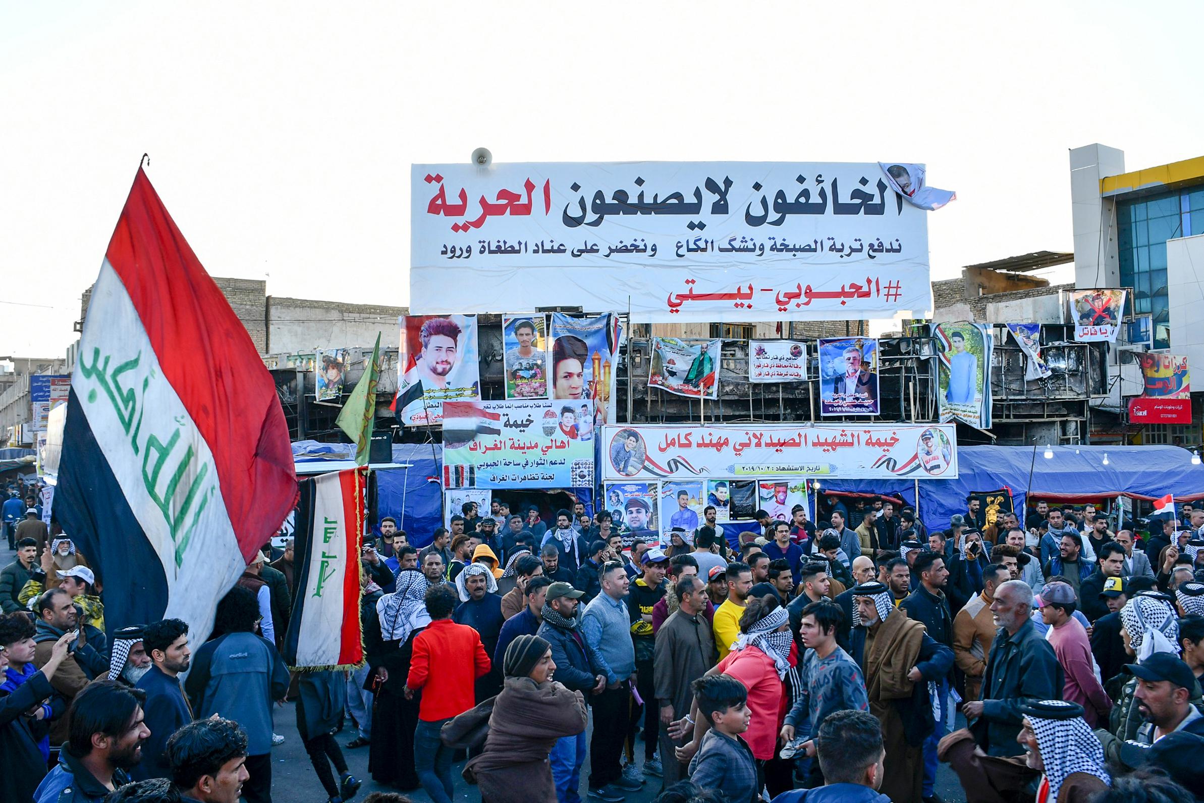 من التظاهرات التي شهدتها ساحة الحبوبي في الناصرية الأحد