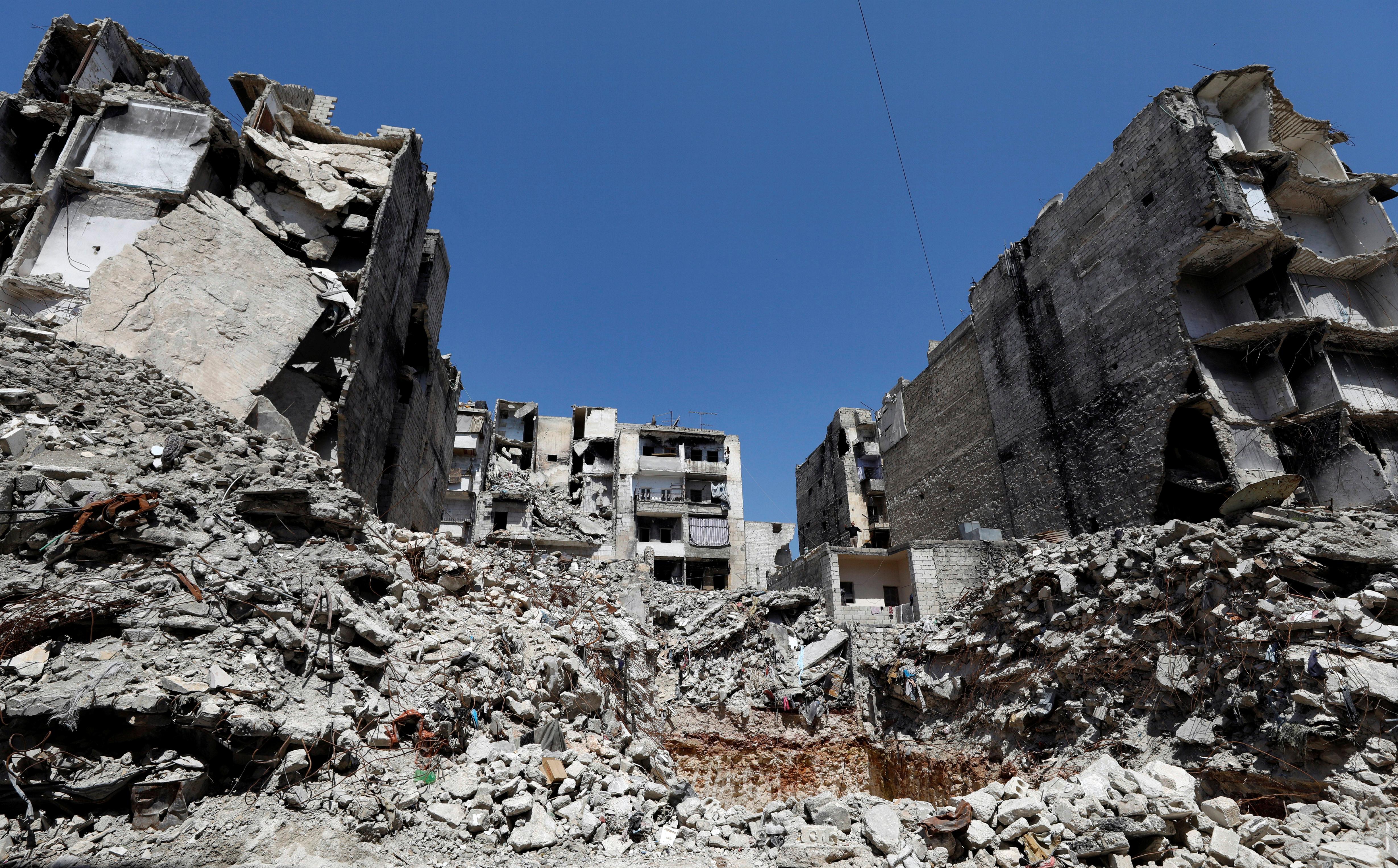 جانب من إحدى المناطق التي دمرتها الحرب في حلب