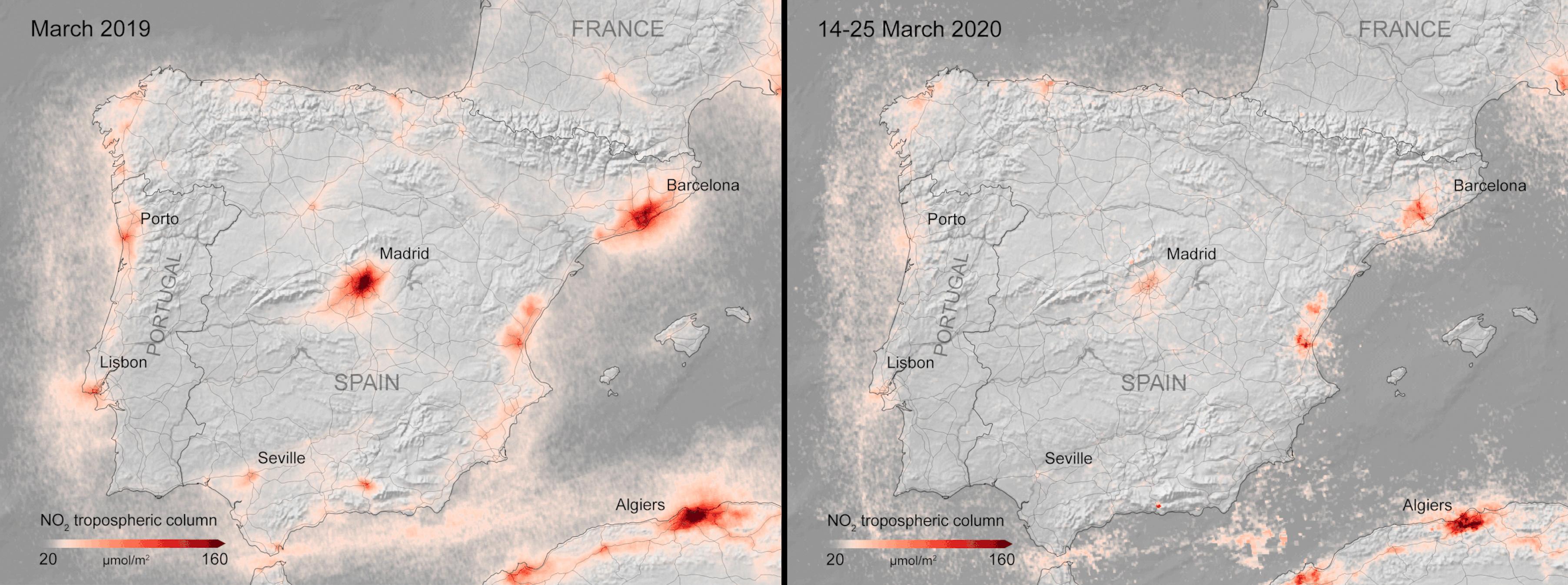 مقارنة قبل وبعد لمستويات ثاني أكسيد النيتروجين الضار في مدن  أوروبية