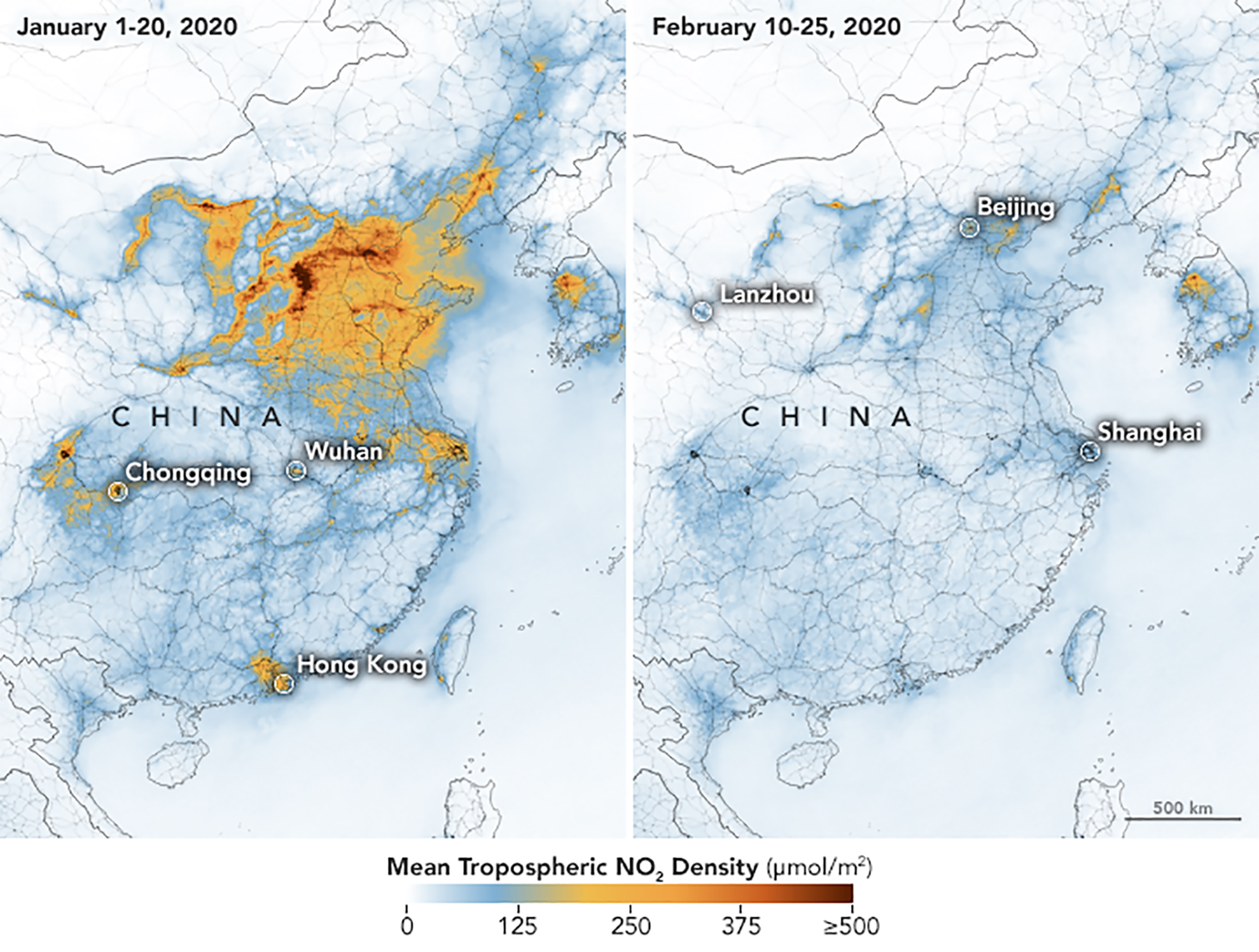 A handout photo released on March 2, 2020 by Nasa and Earth Observatory shows maps displaying nitrogen dioxide (NO2) values…