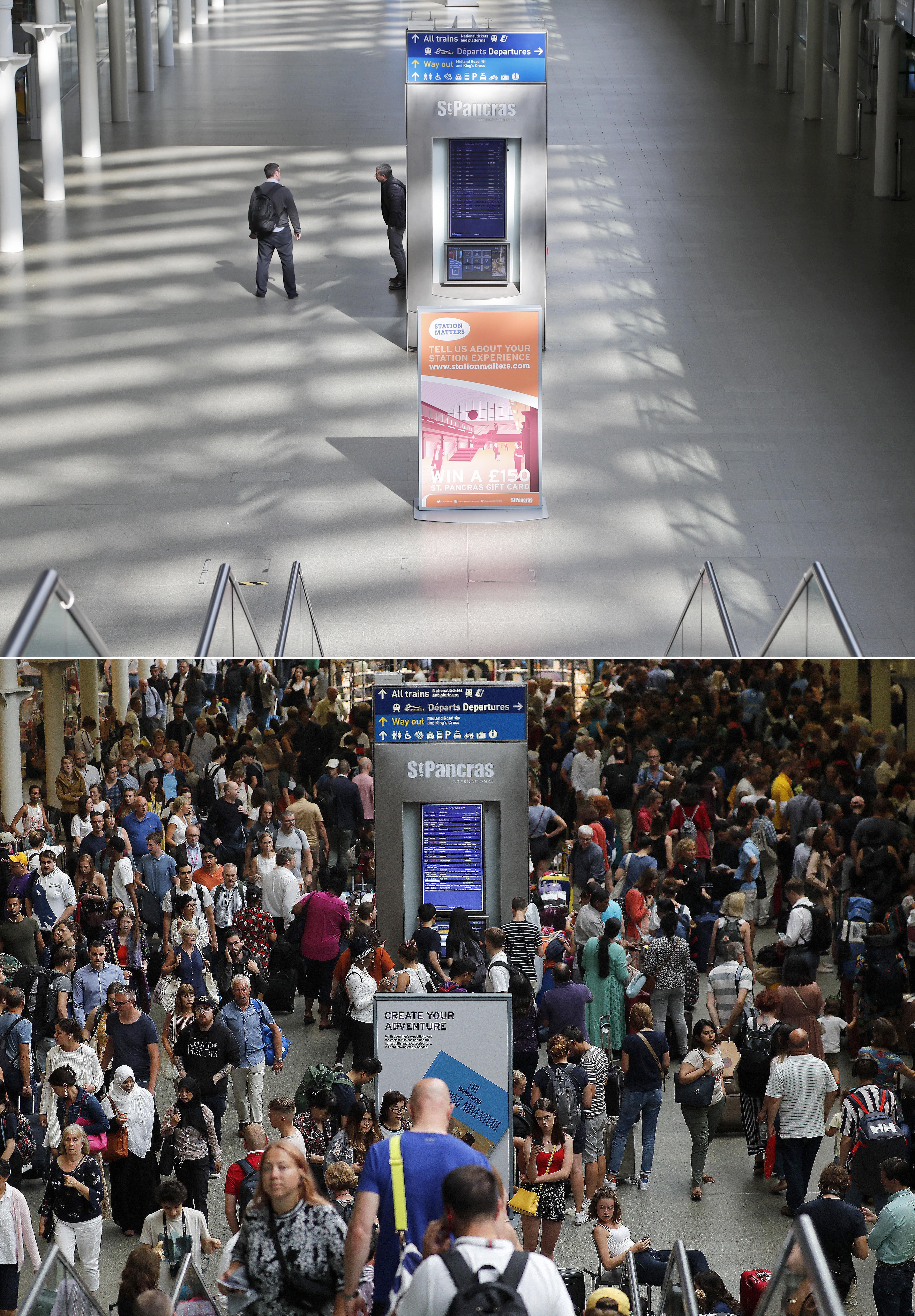 محطة قطار سانت بانكراس التي عادة ما تكون مكتظة بالمسافرين تبدو مهجورة أيضا بسبب الوباء العالمي