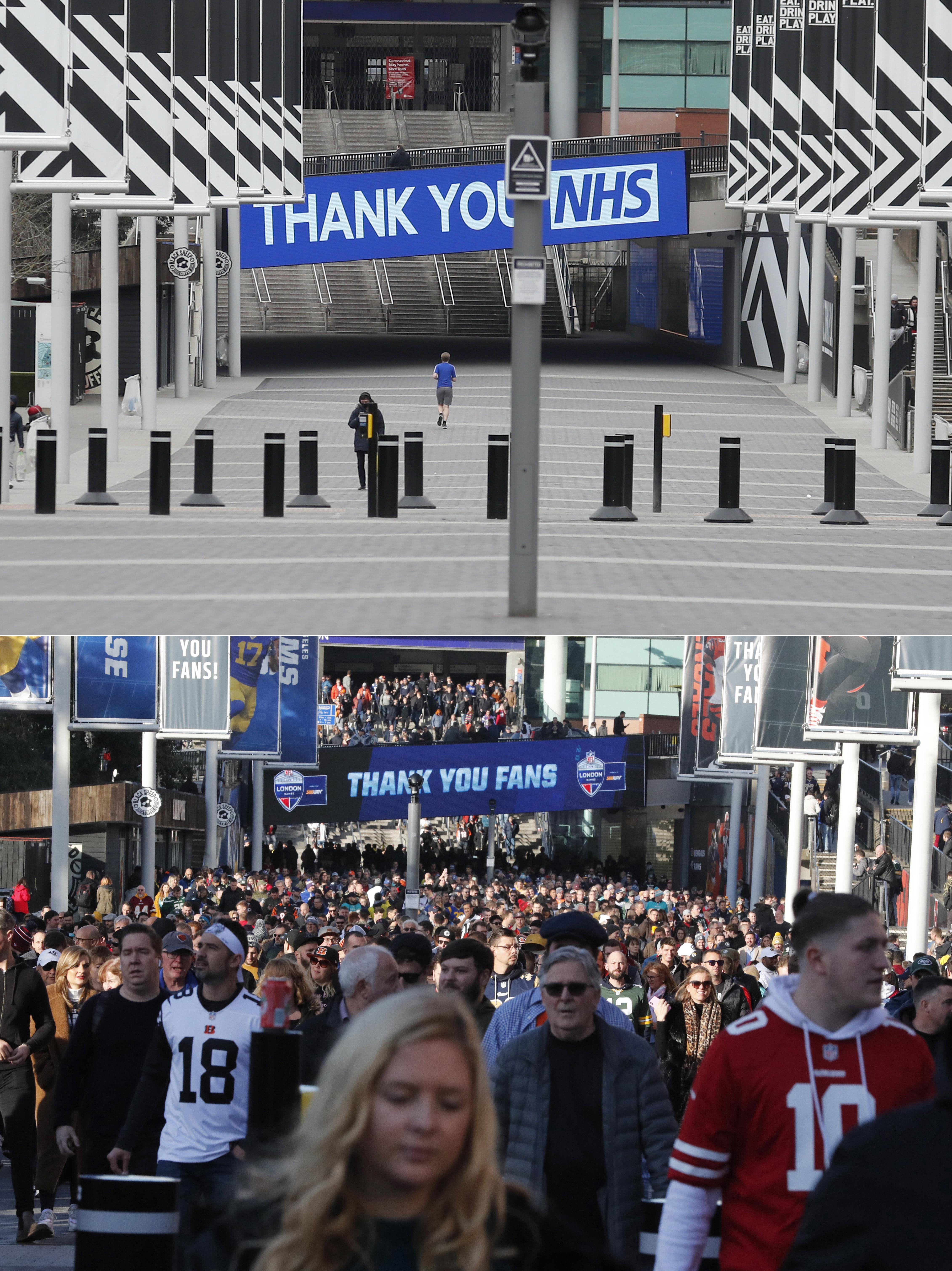 حشود المشجعين غابت عن ملعب ويمبلي الذي علقت فيه جميع البطولات الرياضية