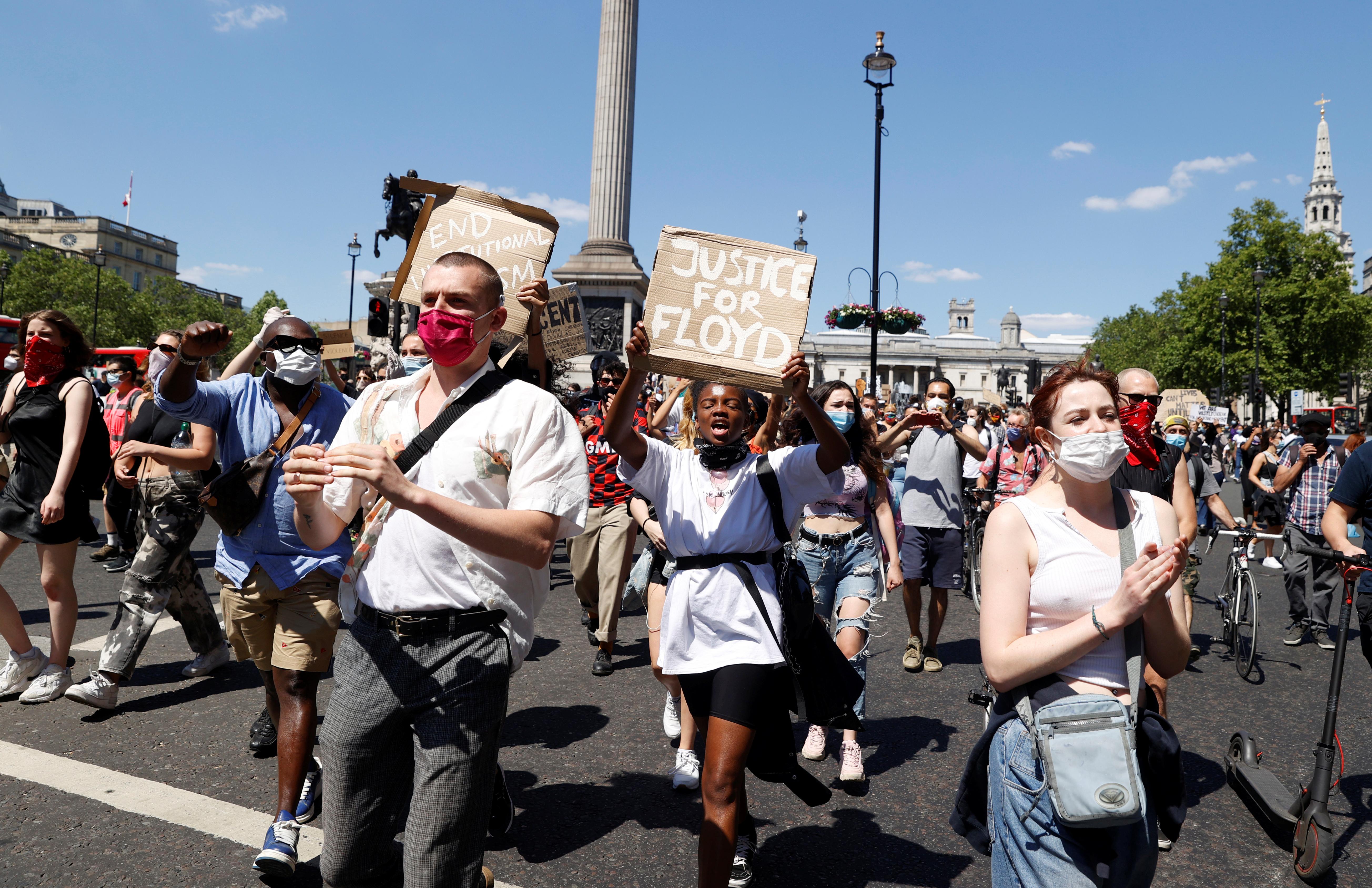 مظاهرات في لندن تنديداً بمقتل جوروج فلويد