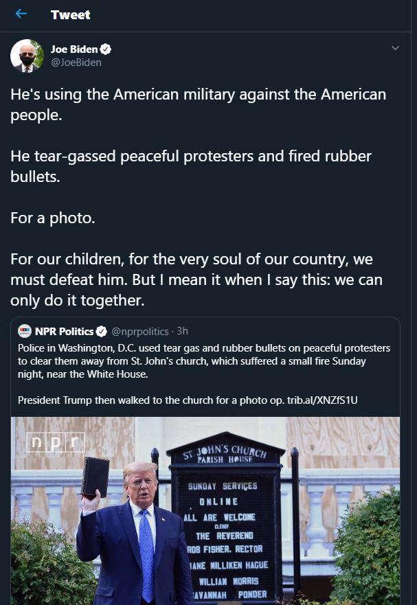 بايدن يتهم ترامب باستخدام الجيش ضدّ الشعب الأميركي