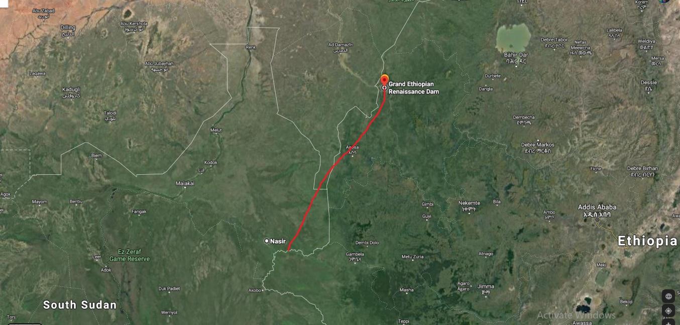 المسافة ما بين مكان القاعدة العسكرية المصرية في باجاك التي لم يتم التأكد من صحتها وبين سد النهضة حوالي 360 كيلو مترا