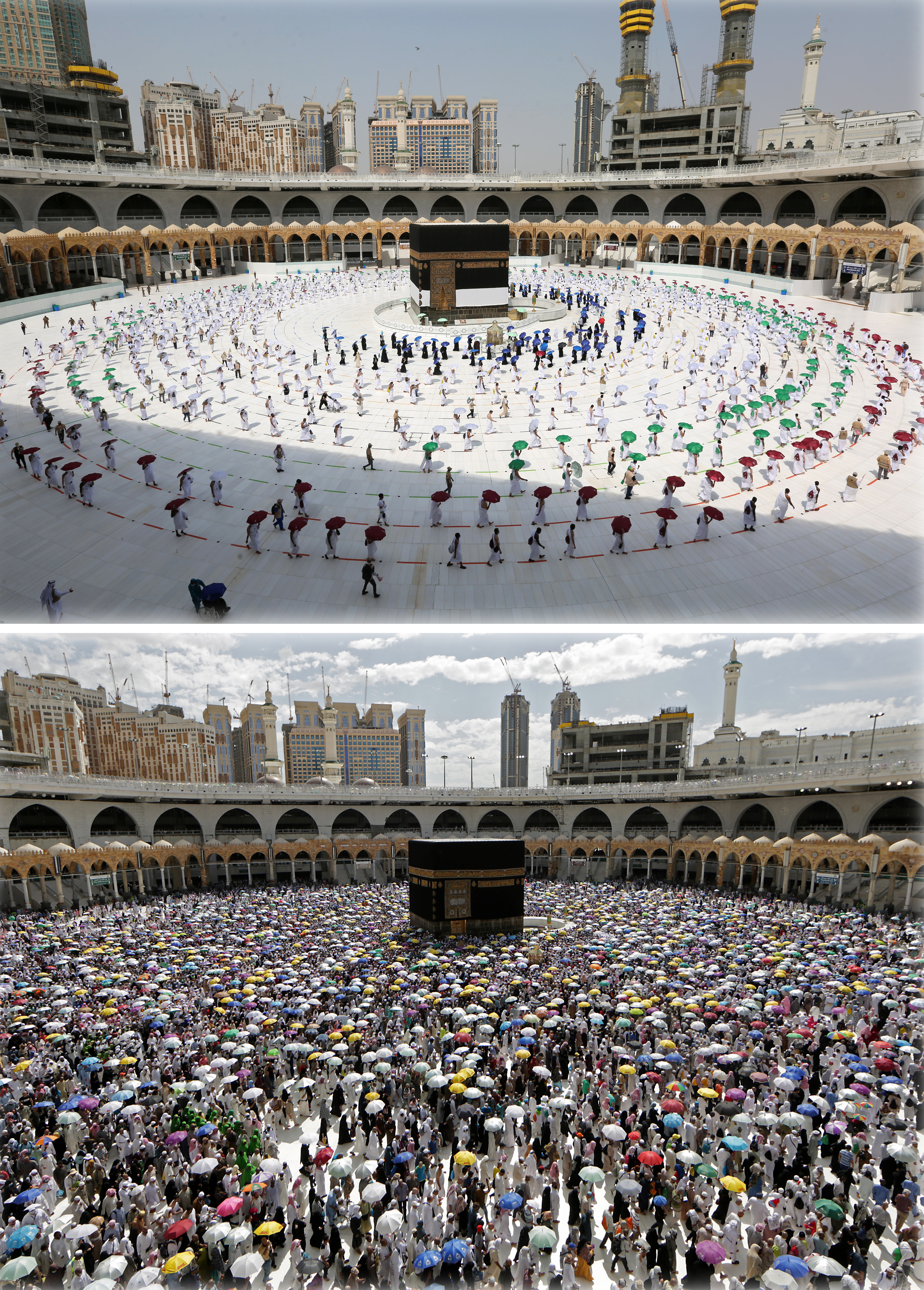 صورة مركبة من مكة خلال أيام الحج هذا العام والعام الماضي