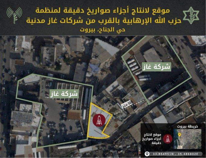 موقع يستخدم لإنتاج مواد للصواريخ الدقيقة في قلب المنطقة الصناعية في حي الجناح