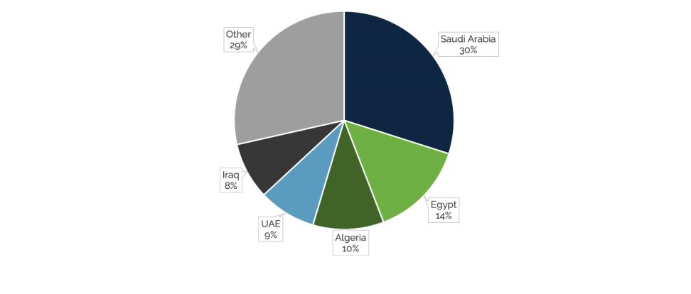 رسم بياني يوضح أكبر الدول المستوردة للسلاح في الشرق الأوسط من 2015 إلى 2019
