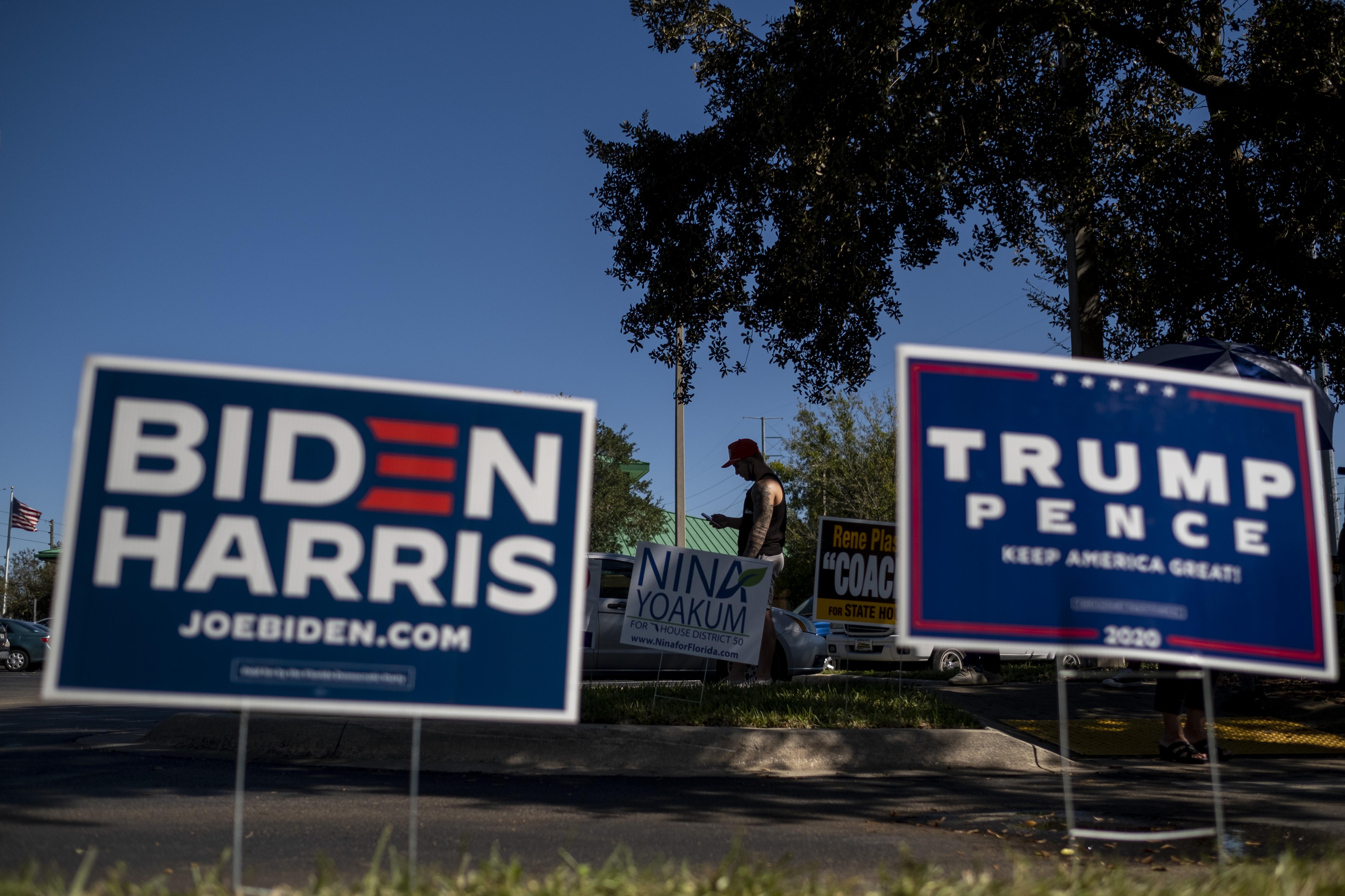 لافتات دعائية للمتنافسين في الانتخابات الأميركية 2020