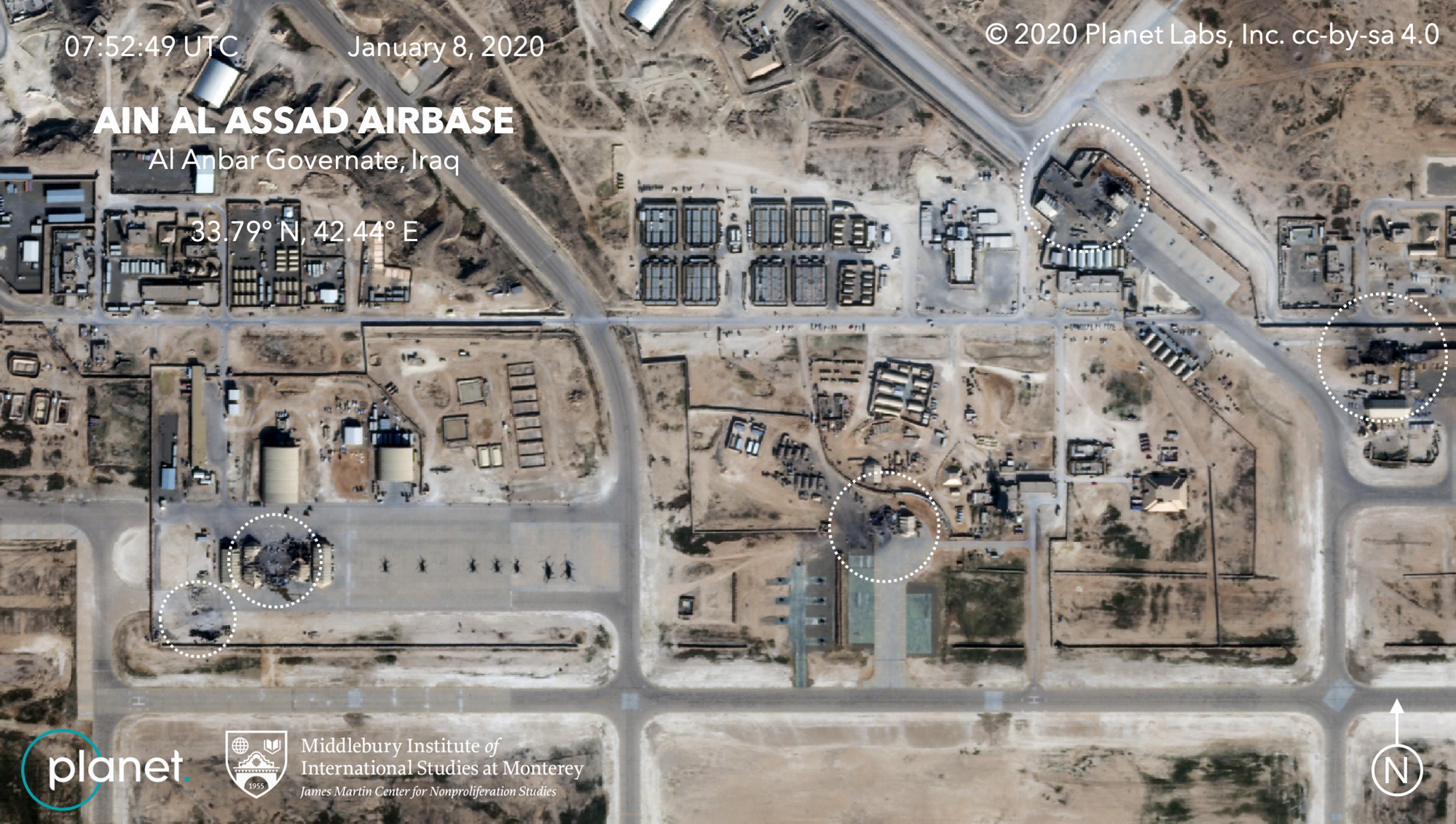 תצלום אוויר המציג את הנזק לבסיס האווירי עין אל-אסד כתוצאה מהתקפות איראניות
