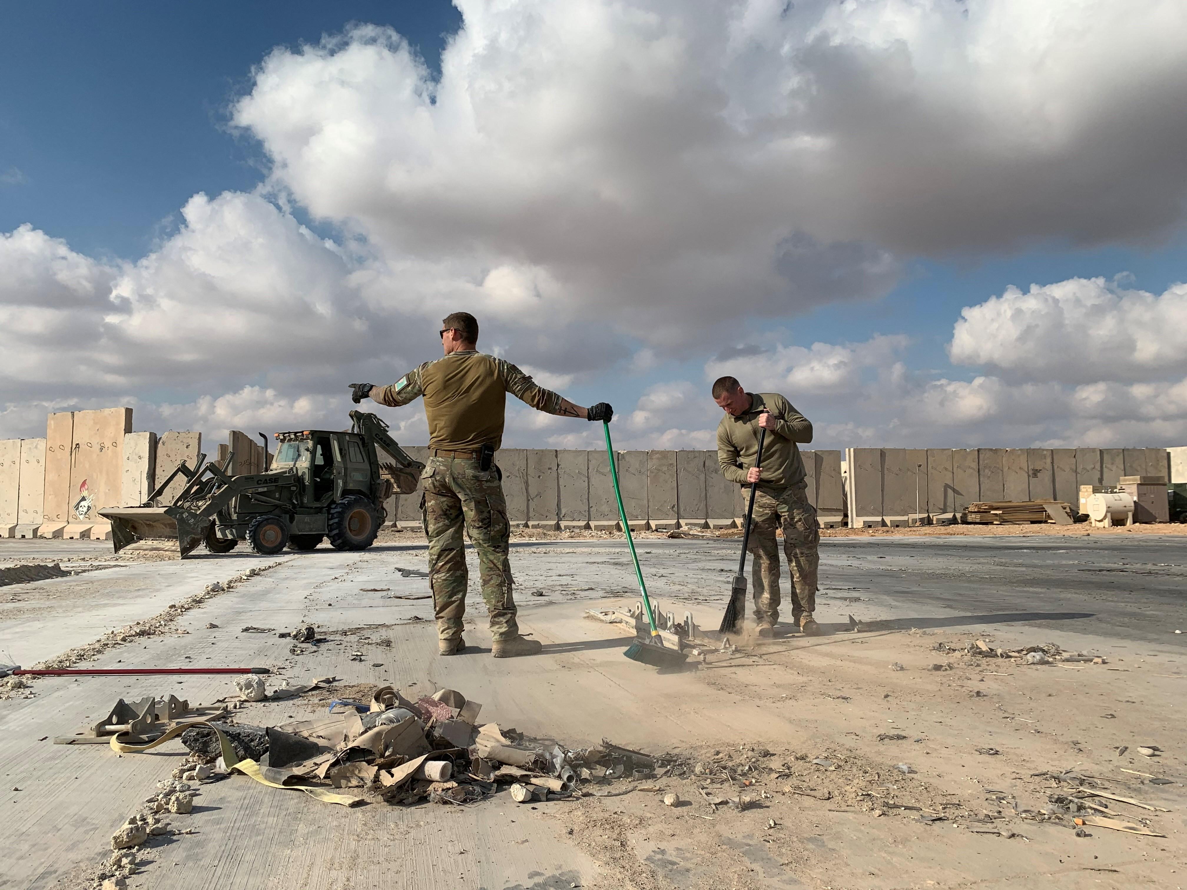 חלק מהפגיעה בבסיס האווירי עין אל-אסד כתוצאה מהתקפות האיראניות