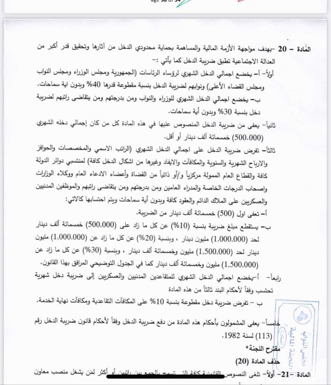 المادة عشرين تخصم مبالغا كبيرا من رواتب الدرجات الخاصة.. صورة من وكالة الأنباء العراقية