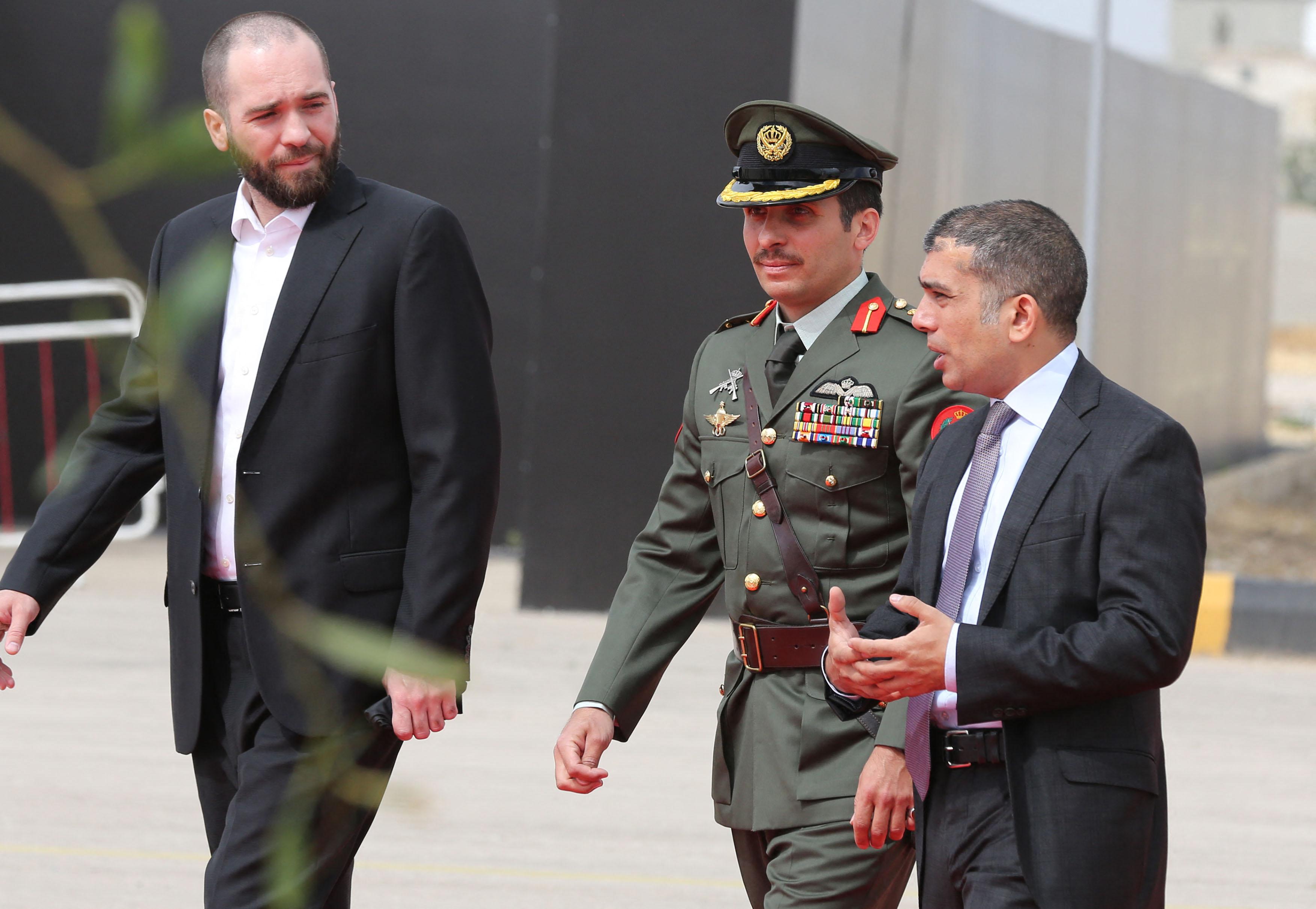Jordanian princes Hashem bin al-Hussein (L) Hamza bin al-Hussein (C) and  Rashed bin al-Hassan (R) arrive at the opening of the…