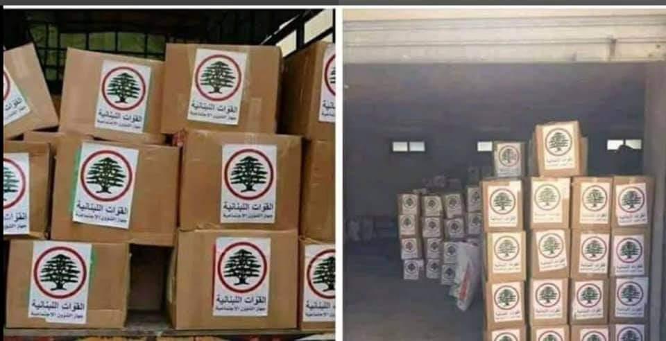 صناديق أغذية مرسوم عليها شعار حزب القوات اللبنانية
