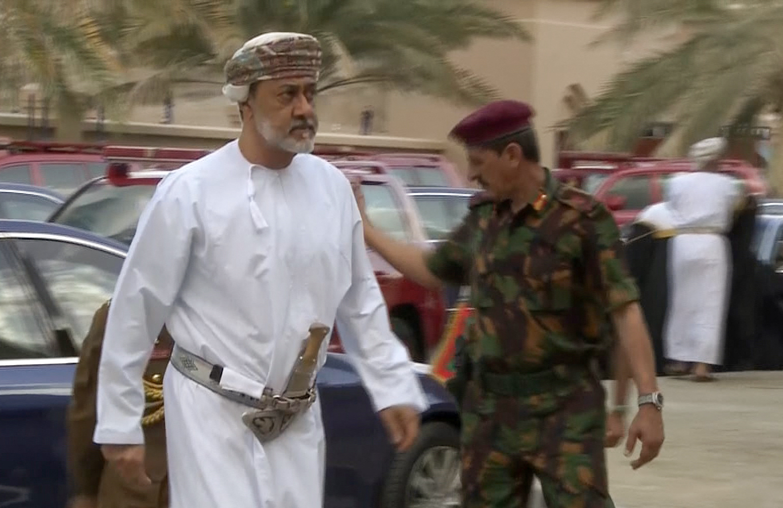 An image grab taken from Oman TV on January 11, 2020, shows Oman's newly sworn-in Sultan Haitham bin Tariq arriving to the…