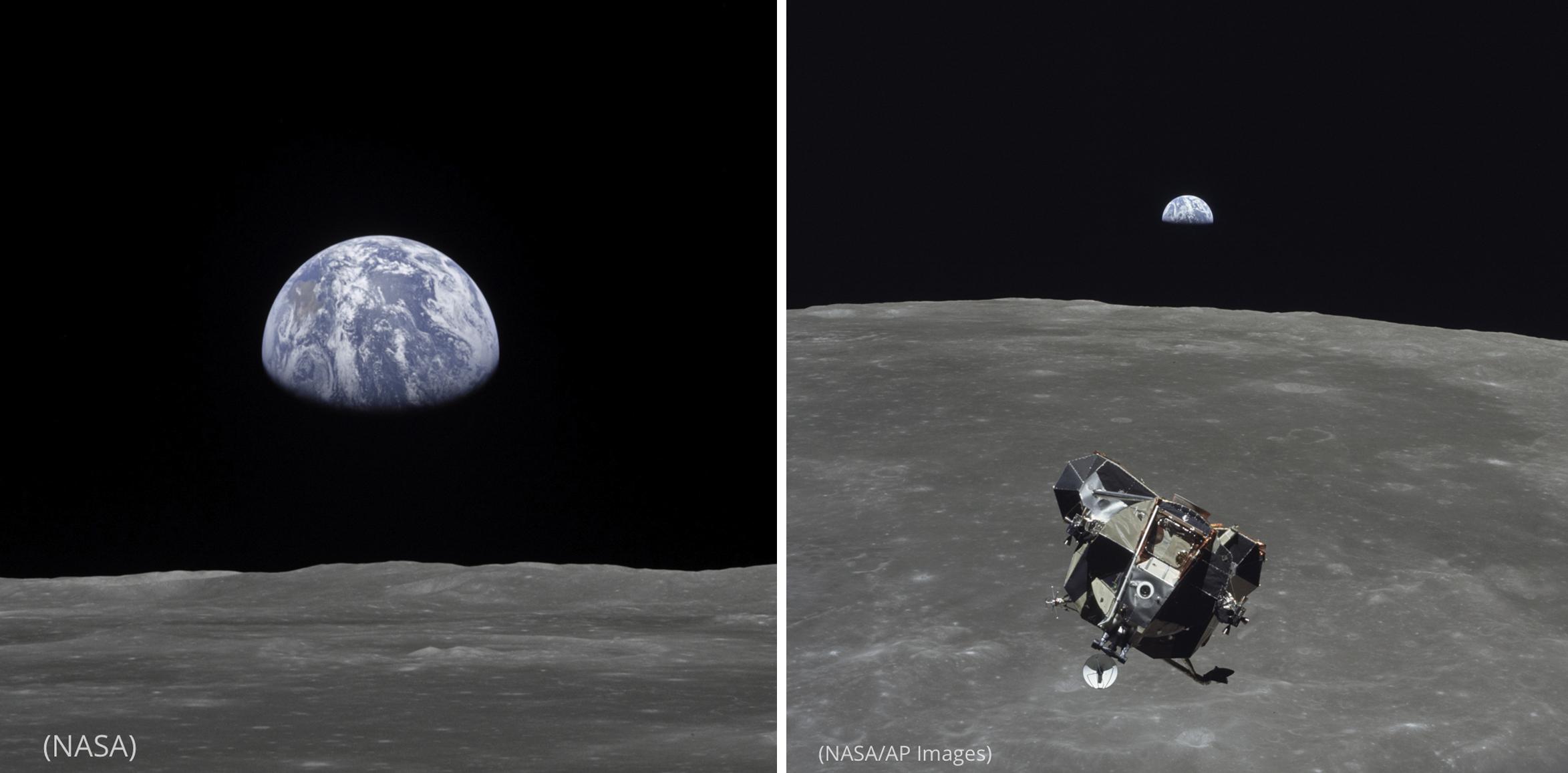 هذه الصورة لجزء من كوكب الأرض الذي يبدو وكأنه يصعد فوق أفق القمر، والتي تم التقاطها في 20 يوليو 1969 من وحدة القيادة المدارية