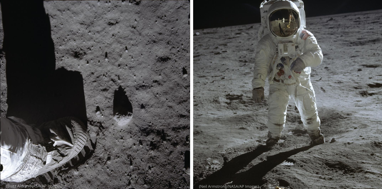 في يسار الصورة: صور آثار الأقدام في الواقع جزءًا من تجربة مخطط لها قام بها ألدرين لدراسة طبيعة غبار القمر وتأثيرات الضغط على السطح في اليمين: نيل أرمسترونغ التقط هذه الصورة لباز ألدرين، والتي تُظهر انعكاسًا لأرمسترونغ ومركبة الهبوط على سطح القمر في قناع ا