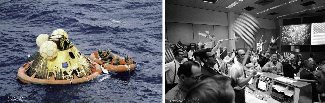 رواد الفضاء الثلاثة وفرد من قوات الضفادع البشرية البحرية، وجميعهم يرتدون سترات عزل بيولوجية، في انتظار مروحيات تنقلهم إلى السفينة يو إس إس هورنيت بعد أن هبطت المركبة القمرية في 24 يوليو 1969. وقد بقوا في الحجر الصحي لمدة ثلاثة أسابيع