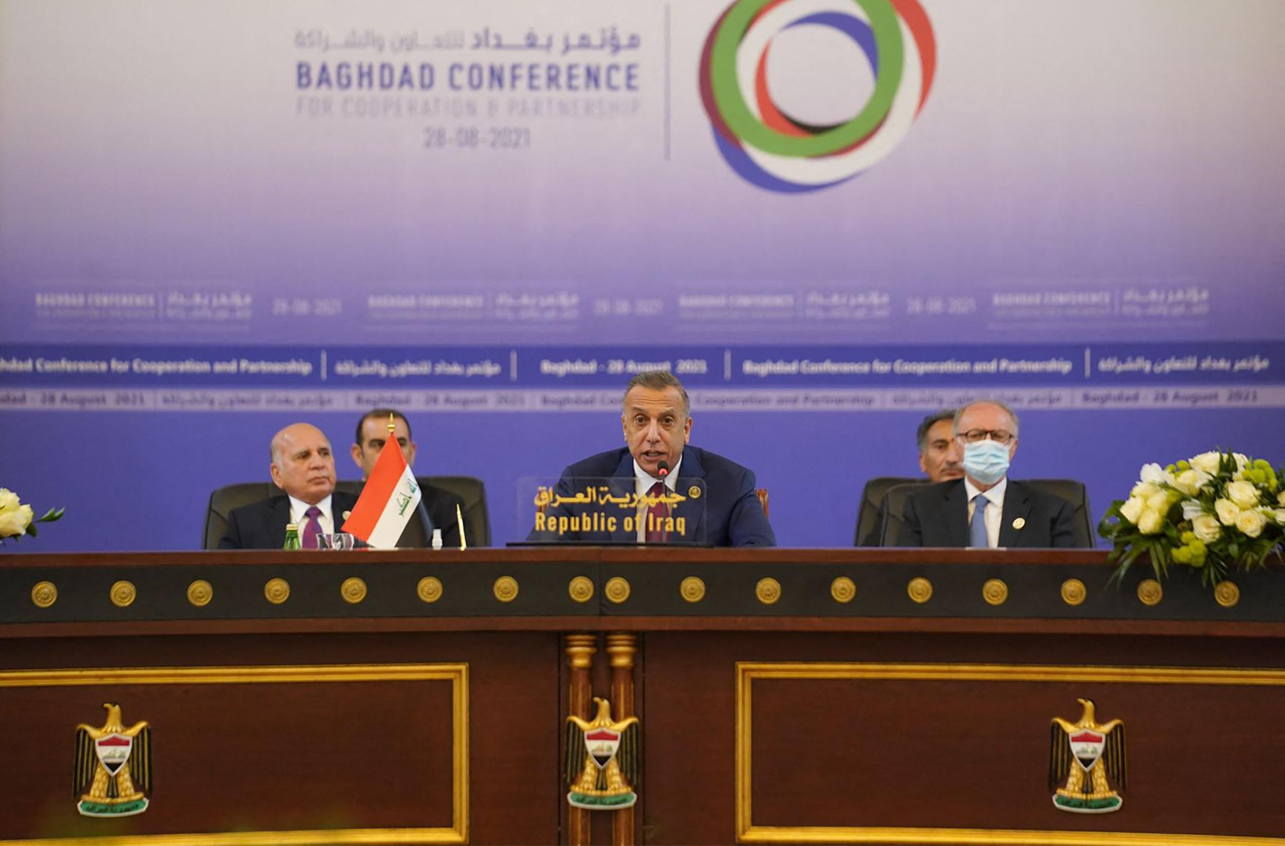 رئيس الوزراء العراقي خلال إلقاءه كلمته بالمؤتمر
