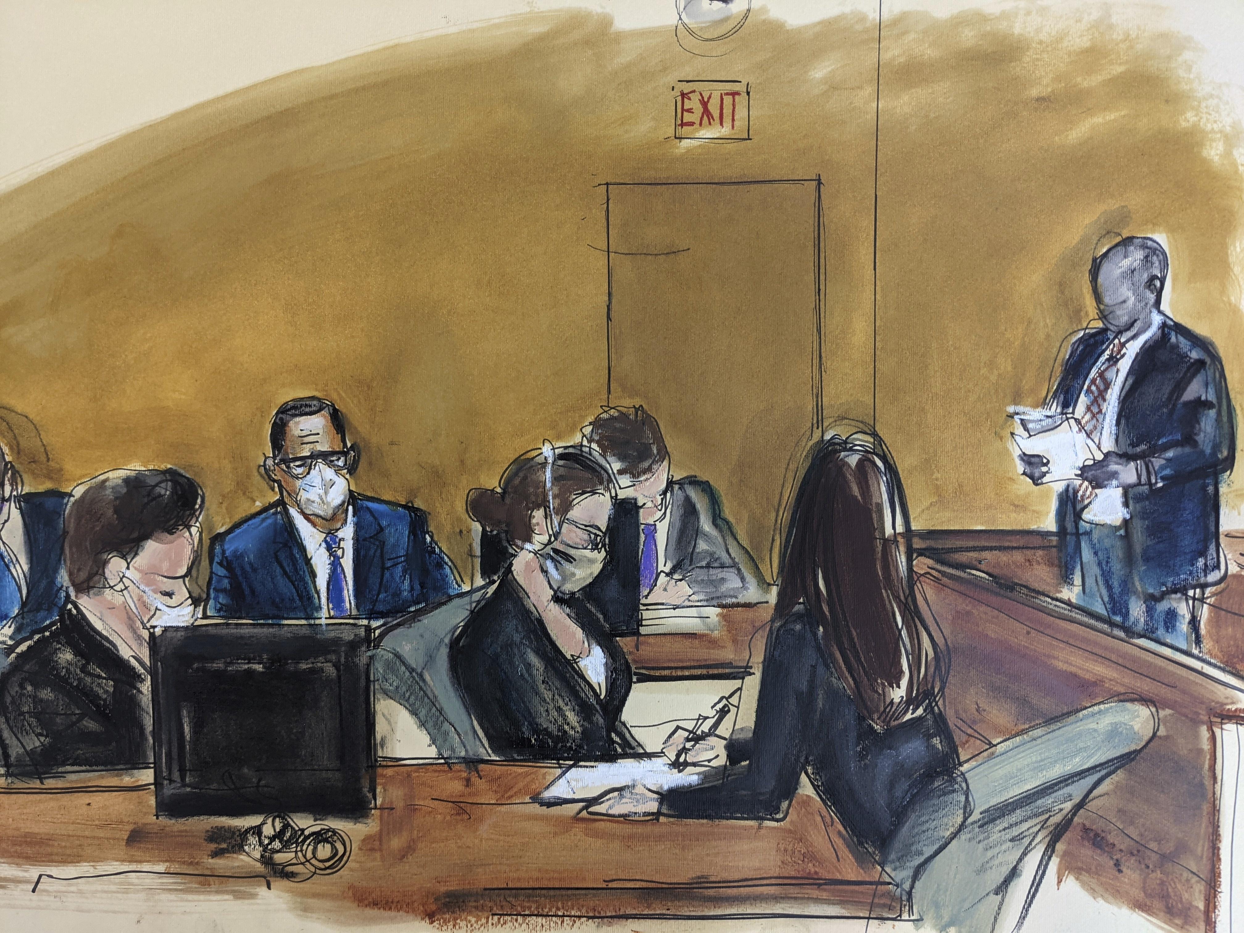 رسم لوقائع جلسة الحكم بقضية آر. كيلي